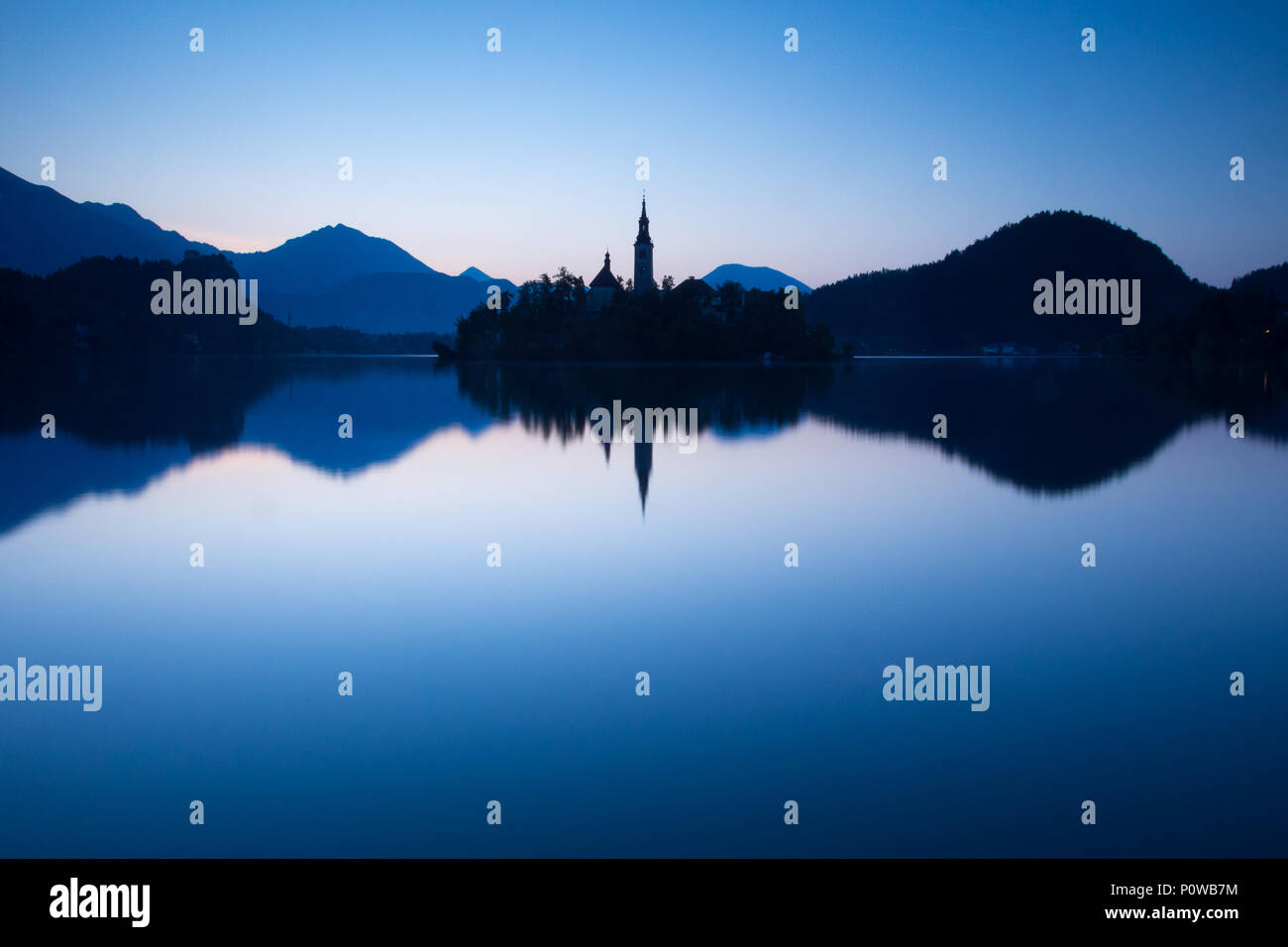 Blue hour on Lake Bled Stock Photo