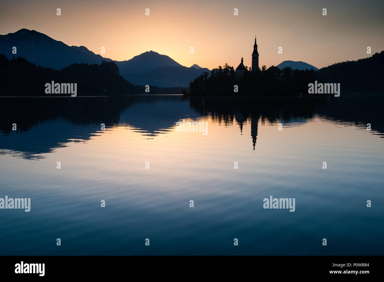 Dawn on lake Bled Stock Photo