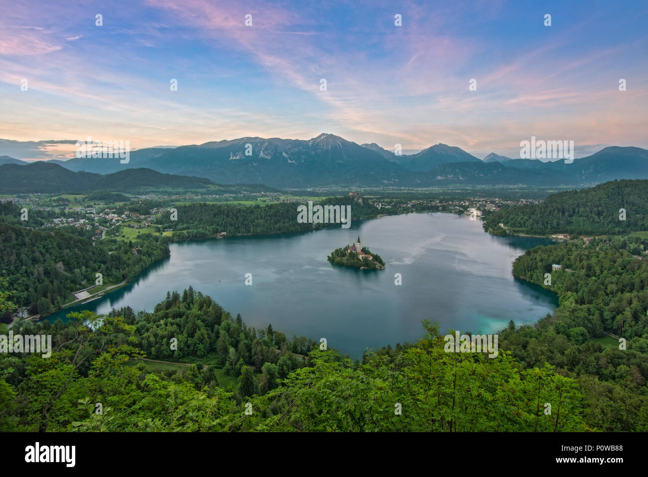Lake Bled from above taken at sunset  at  Osojnica viewpoint Stock Photo