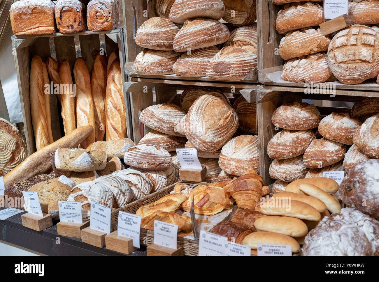 Bread for sale at Daylesford Organic farm summer festival. Daylesford, Cotswolds, Gloucestershire, England - Stock Image
