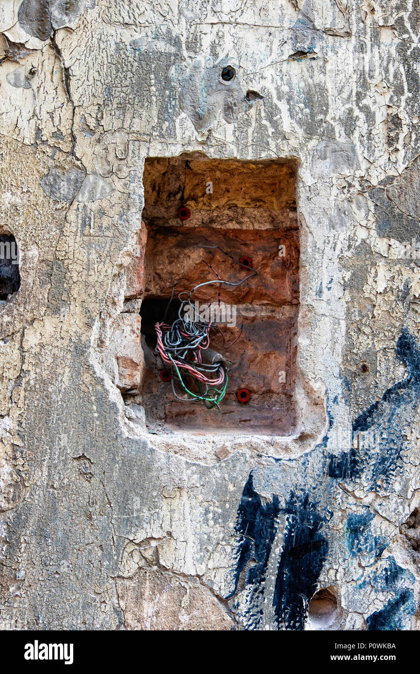 Electric Wiring Building Wall Stock Photos In Brick Abstract Weathered Cracked Old With Exposed Wires Image