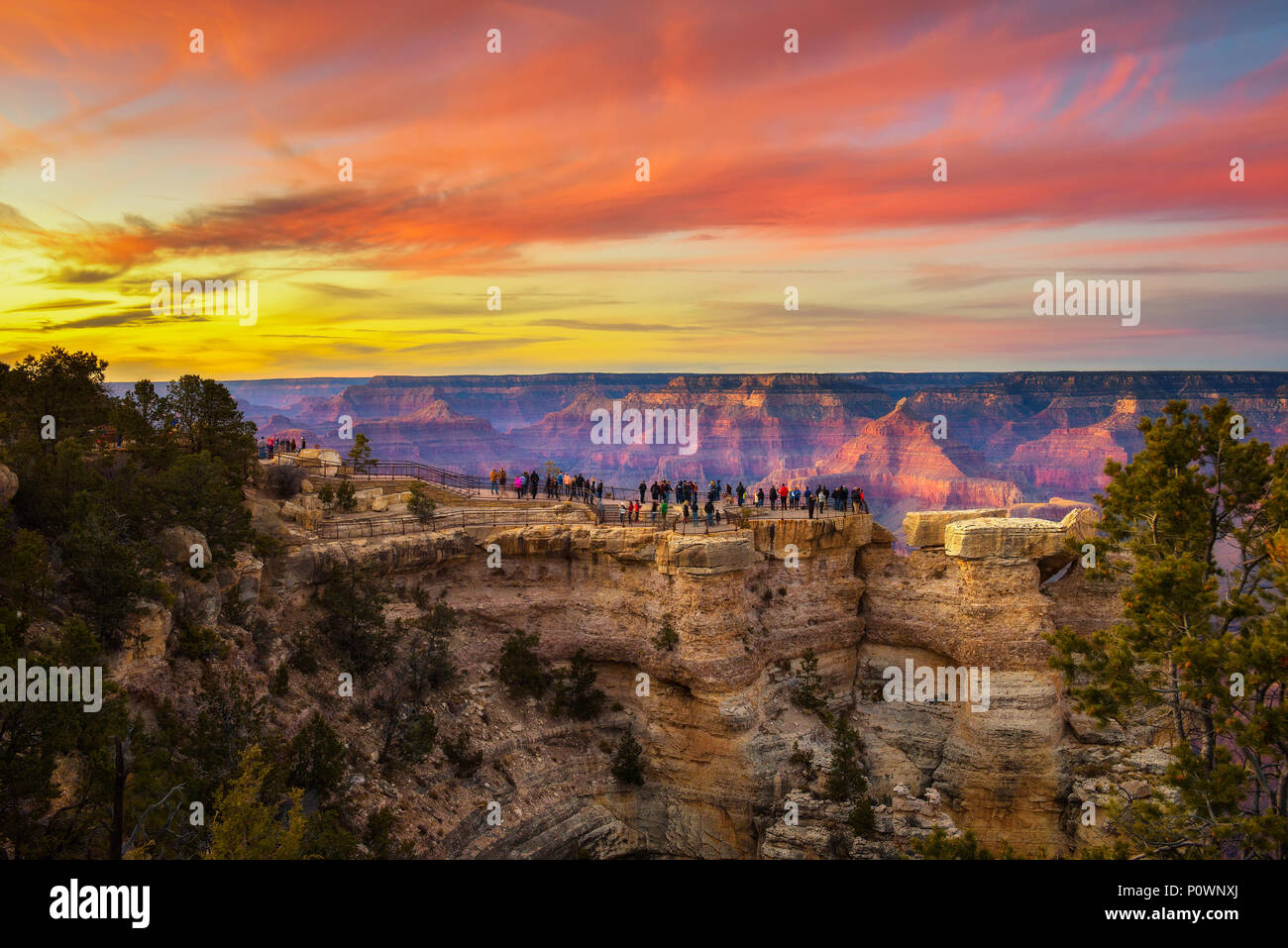 Sunset above south rim of Grand Canyon from the Mather Point - Stock Image