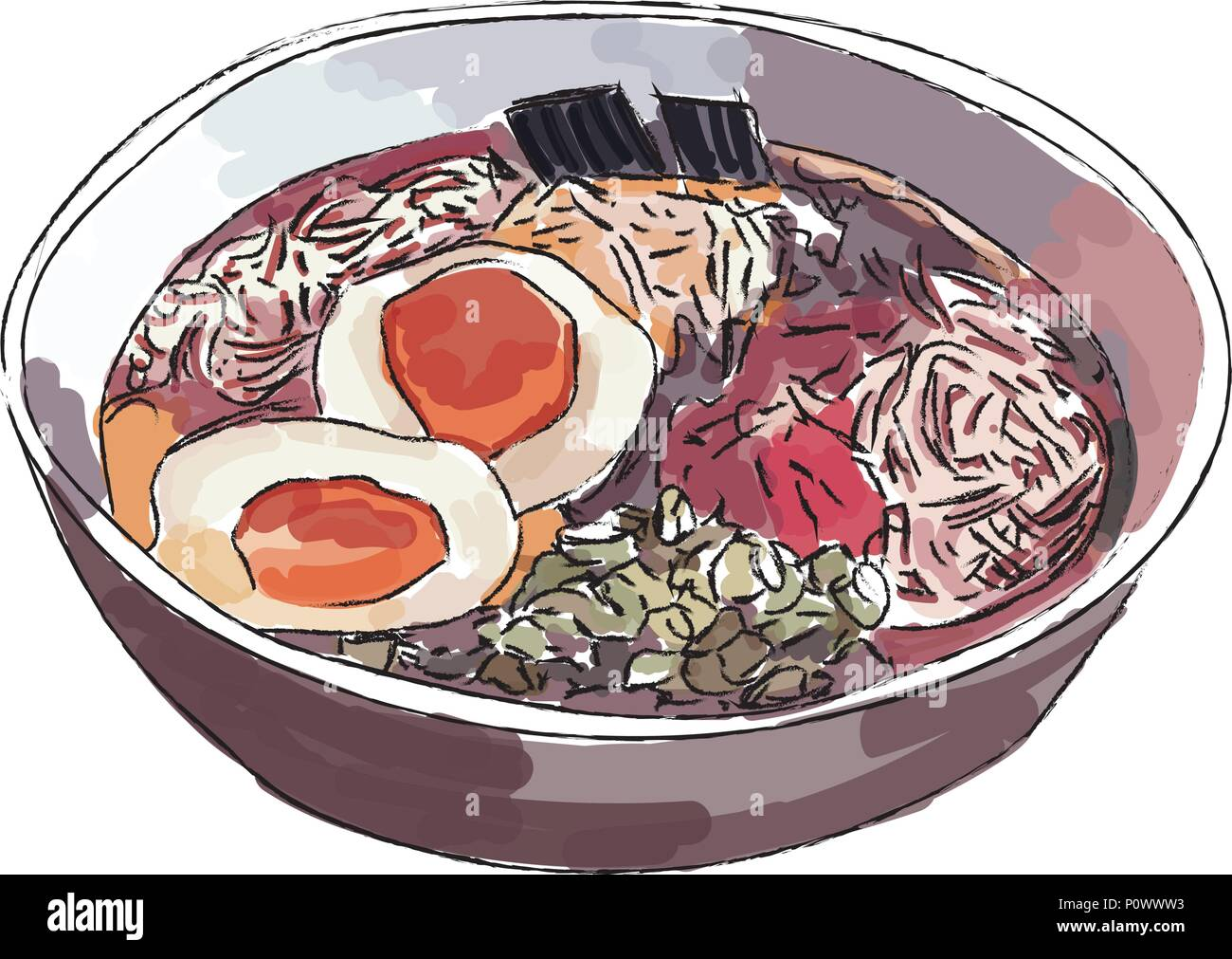 Ramen bowl noodles vector on white background. - Stock Vector