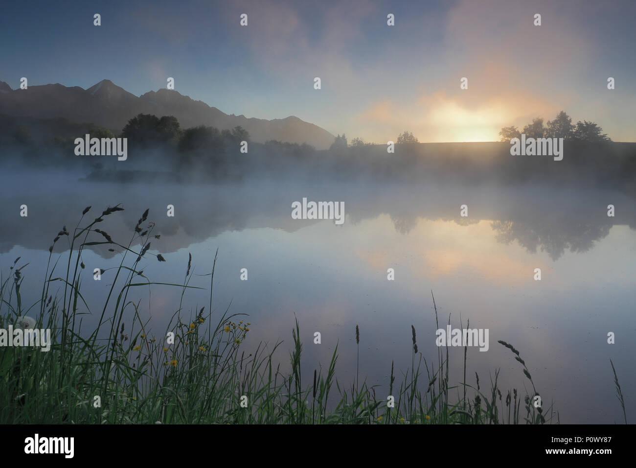 Misty morning in Slovakia Stock Photo