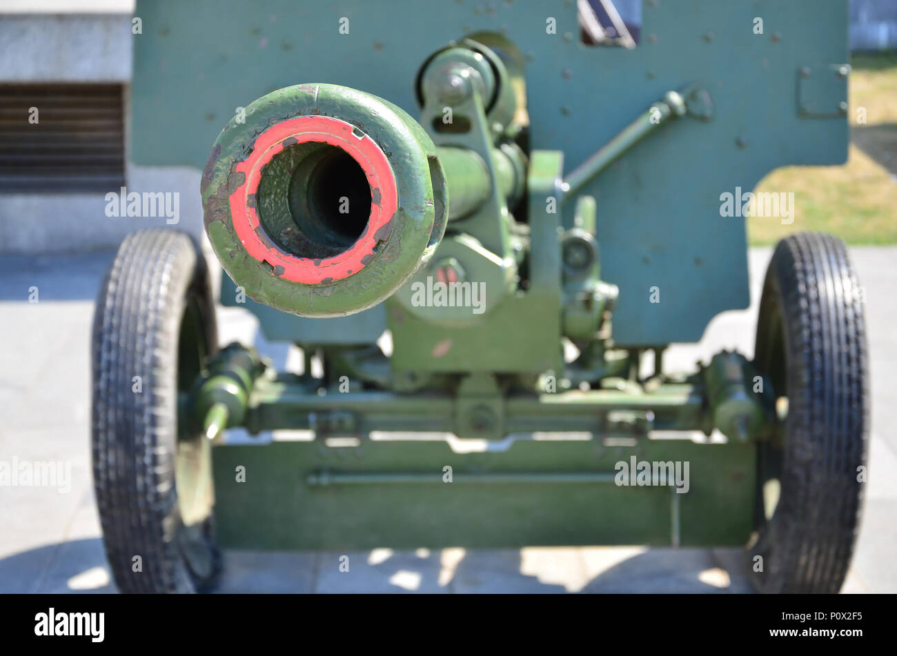Photo of a portable weapon of the Soviet Union of the Second World War, painted in dark green color - Stock Image
