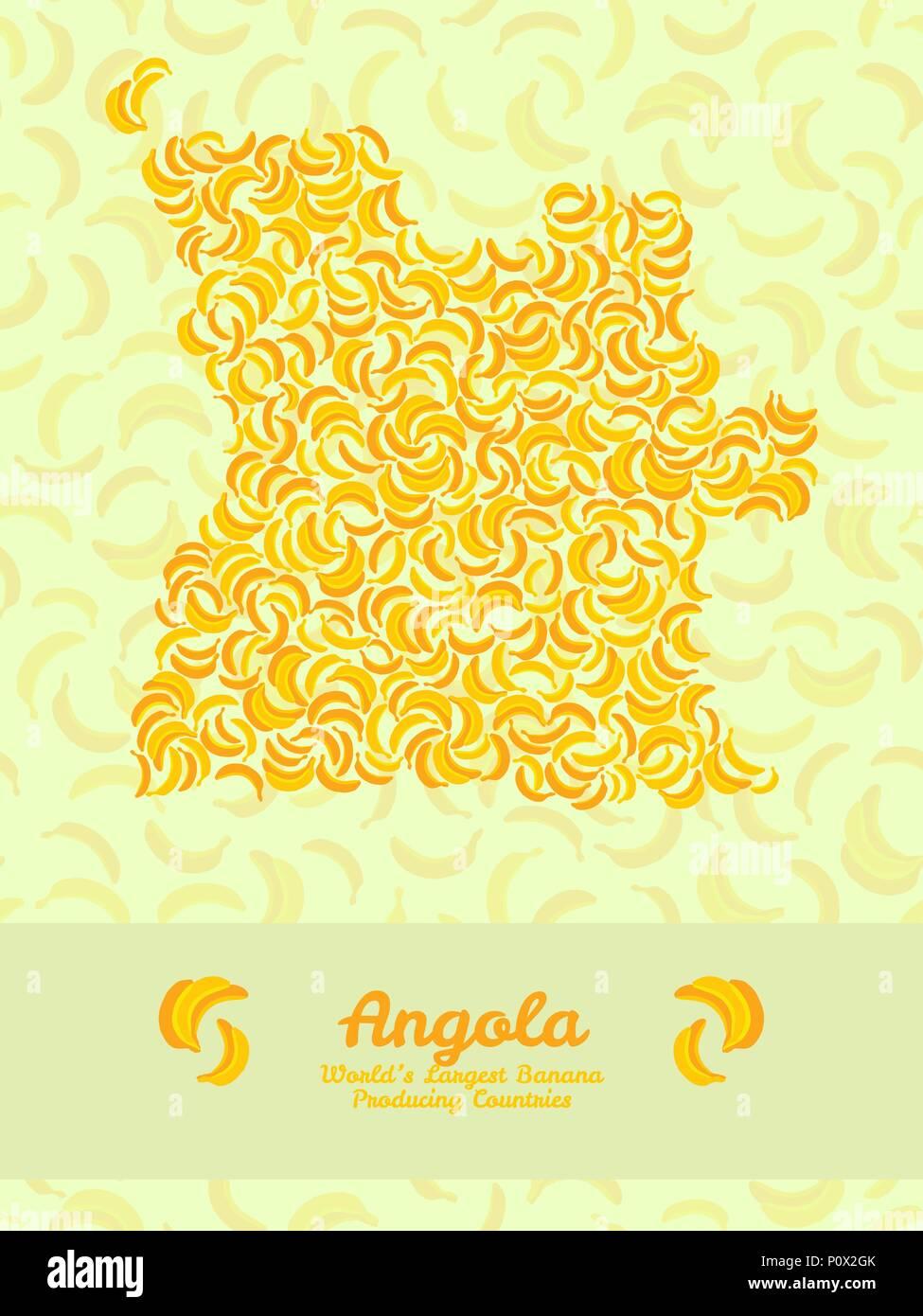 Map of Angola made out of yellow bananas. Fruitarian illustration. Angola map poster or card. Vegetarian postcard. Series: World's Largest Banana Prod - Stock Vector