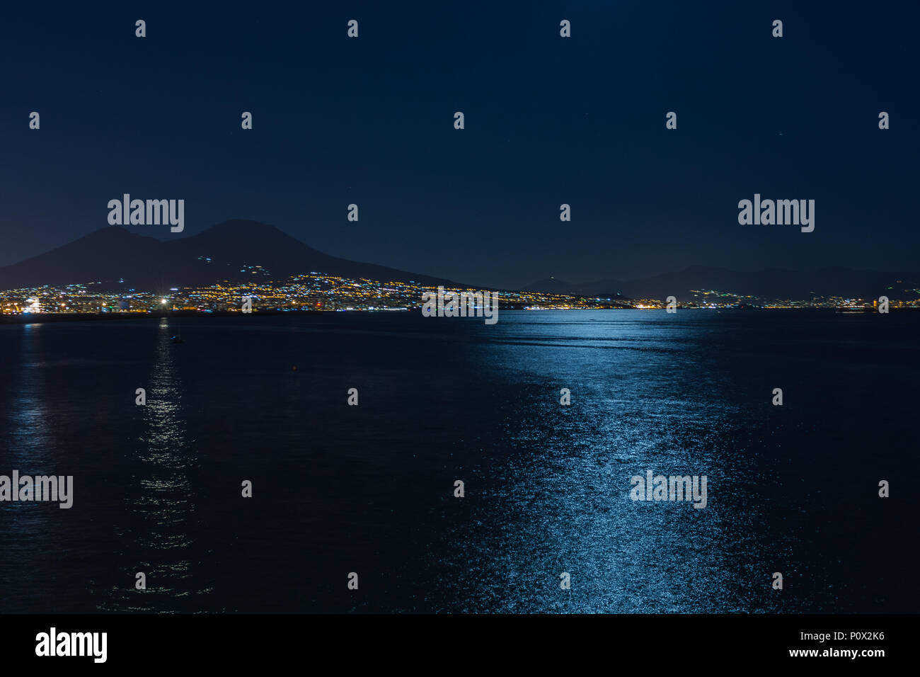 Gulf of Naples in the night. - Stock Image