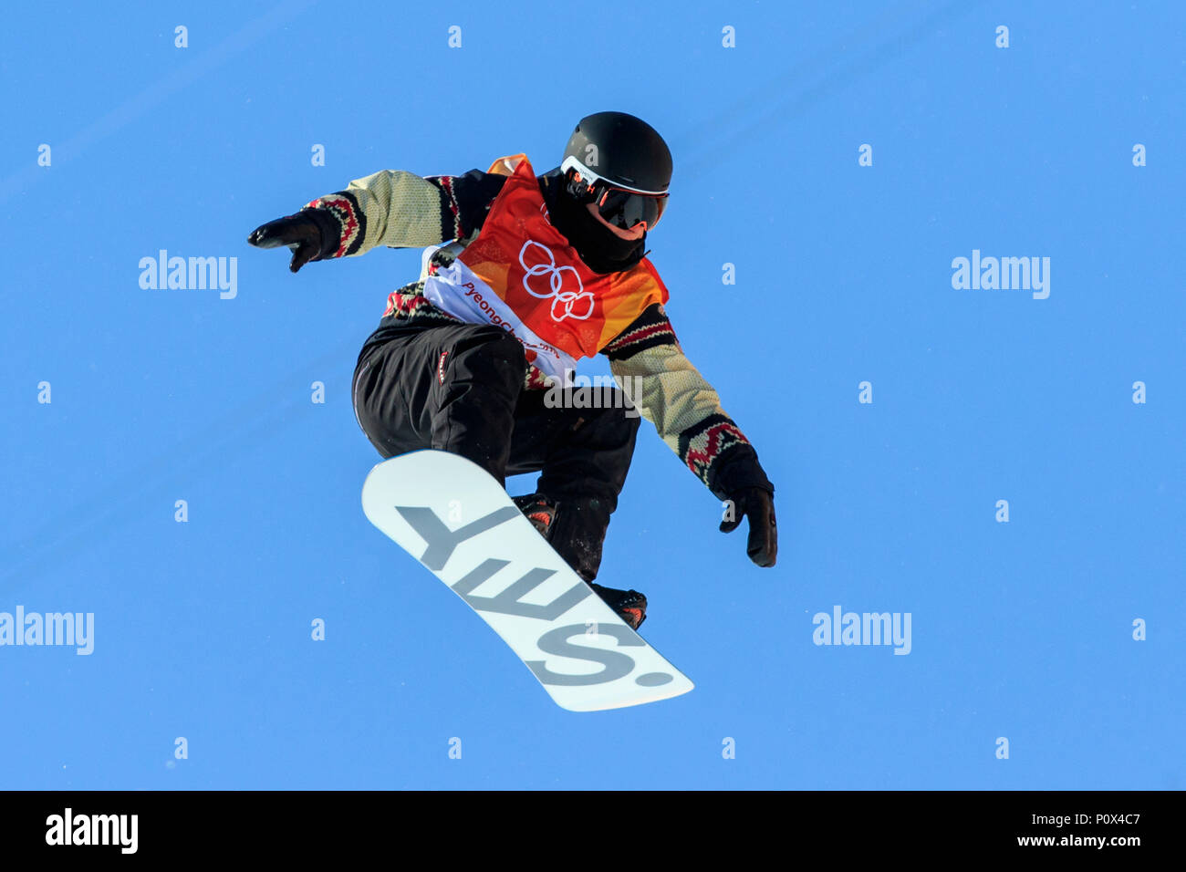 Derek Livingston (CAN) competing in  the Men's Snowboarding Half Pipe Qualification at the Olympic Winter Games PyeongChang 2018 - Stock Image