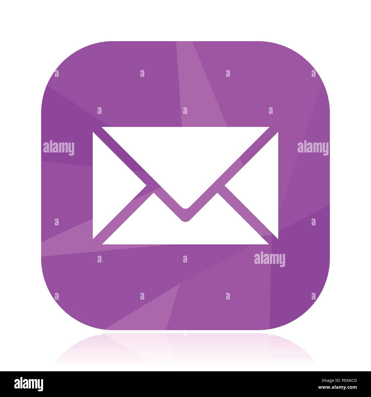 Email Flat Vector Icon  Envelope Violet Web Button  Letter Internet Square Sign  Post Modern