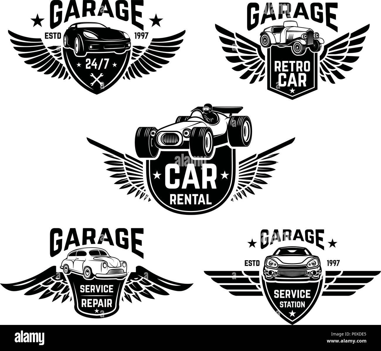 Car Repair, Garage, Auto Service Emblems. Design Elements