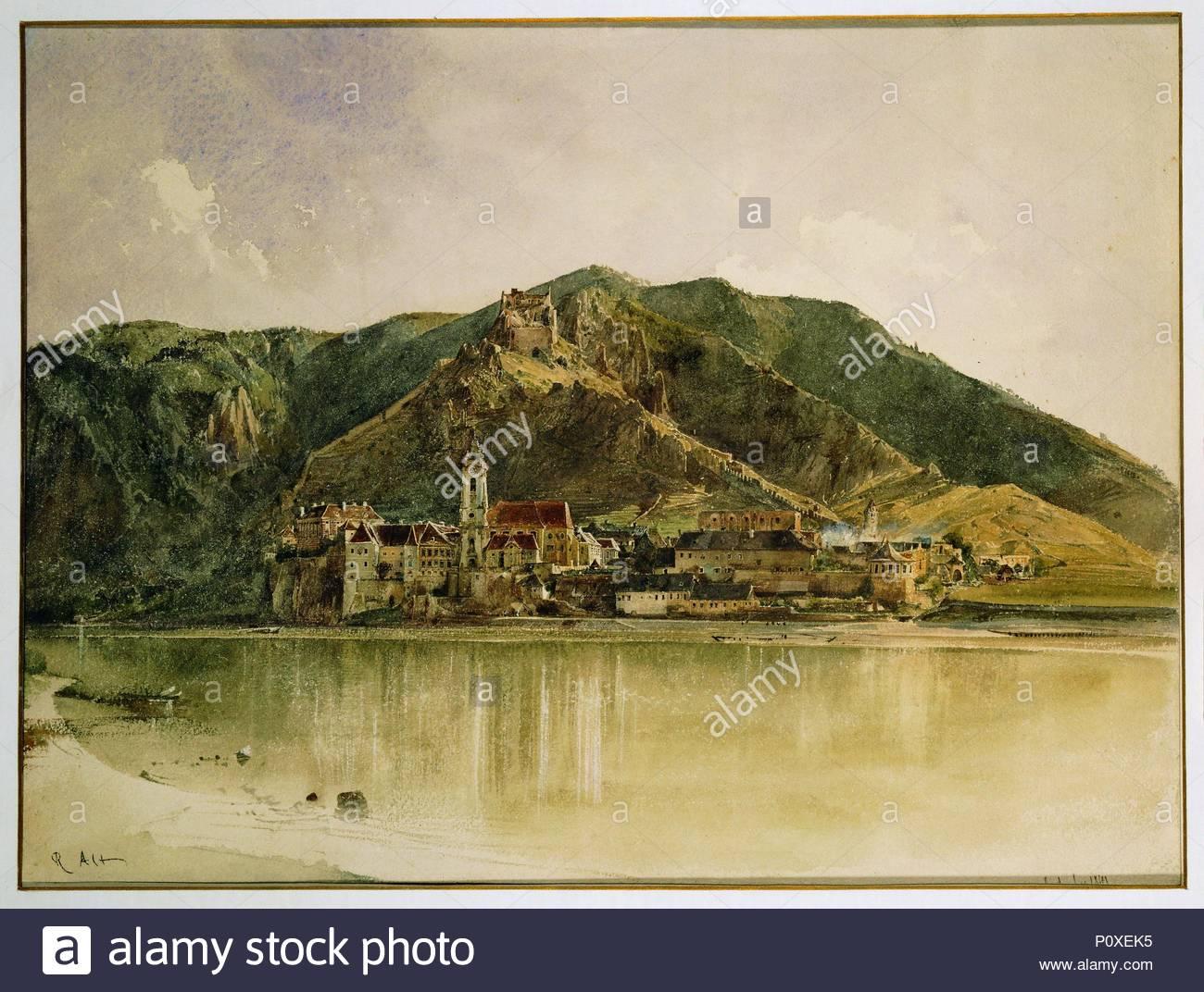 Blick auf Duernstein an der Donau - Duernstein on the Danube,1841. Watercolour,32,6 x 43,5 cm. Author: VON ALT, RUDOLF. Location: Kuenstlerhaus, Vienna, Austria. - Stock Image
