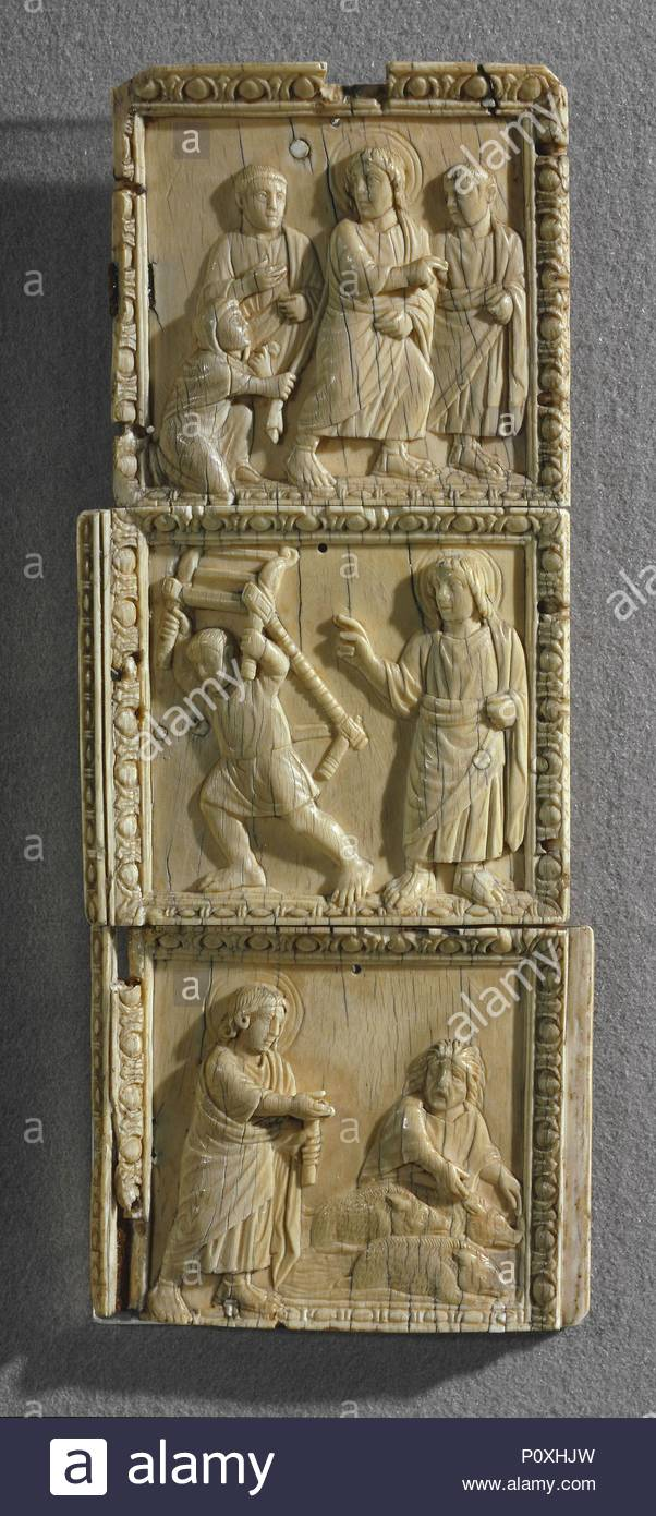Side part of a diptych's tablet in five parts: Cure of the woman with the issue of blood, cure of the paralysed, cure of the posessed Around 400; Rome Ivory; 19,70cm x 7,90cm OA 7876, OA 7877, OA 7878. Location: Louvre, Dpt. des Objets d'Art, Paris, France. - Stock Image