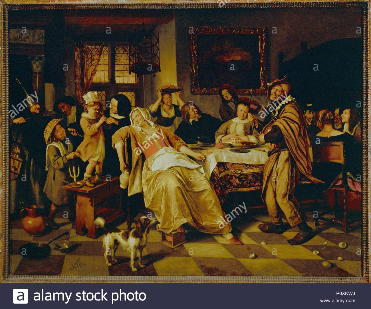 Feast of the Twelfth Night cake,1660. Author: Jan Steen (1626-1679).  Location: Staatliche Kunstsammlungen, Kassel, Germany.