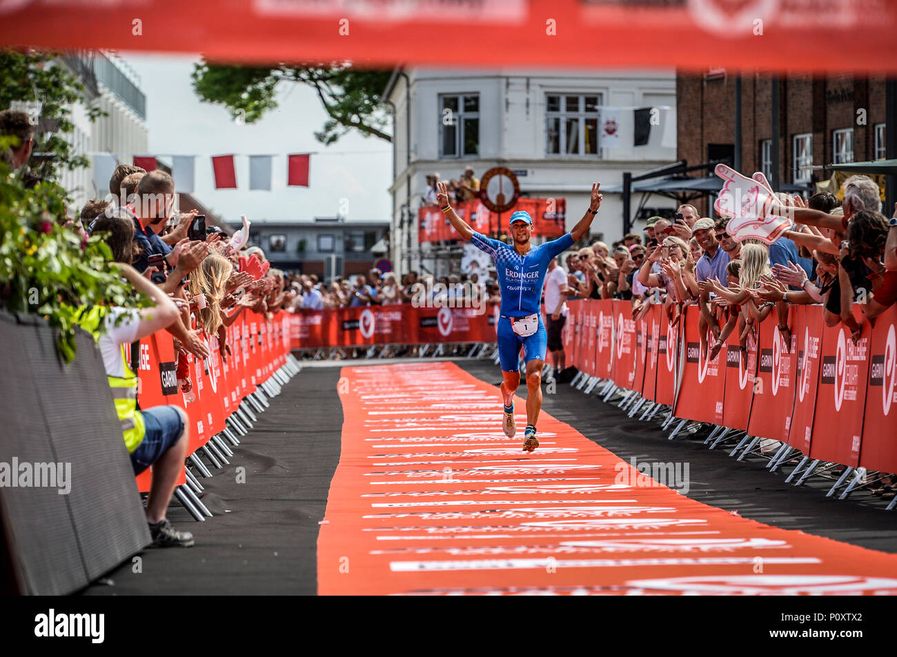 Herning, Denmark, 9th June 2018 UK Sport: Andreas Dreitz on his way to winning the middle distance triathlon in Herning  Credit Northern Sport/Alamy Live News Stock Photo