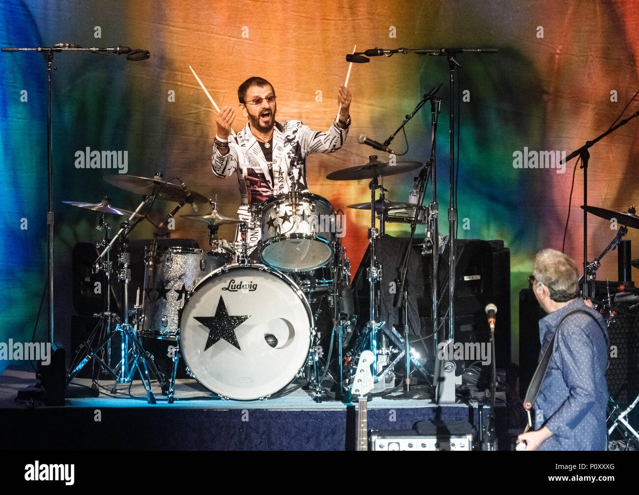 9 June 2018, Flensburg, Germany: The British musician Ringo Starr performs for the start of his Germany tour. Photo: Markus Scholz/dpa Credit: dpa picture alliance/Alamy Live News - Stock Image