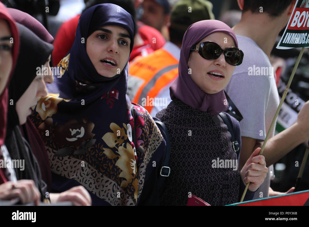 London, UK - 10 June 2018: Protestors take part  in a demonstration outside the Saudi Arabia Embassy for Al Quds Day on 10 June 2018. The annual event held on the last Friday of Ramadan that was initiated in 1979 to express support for the Palestinians and oppose Zionism and Israel. Credit: David Mbiyu Credit: david mbiyu/Alamy Live News - Stock Image