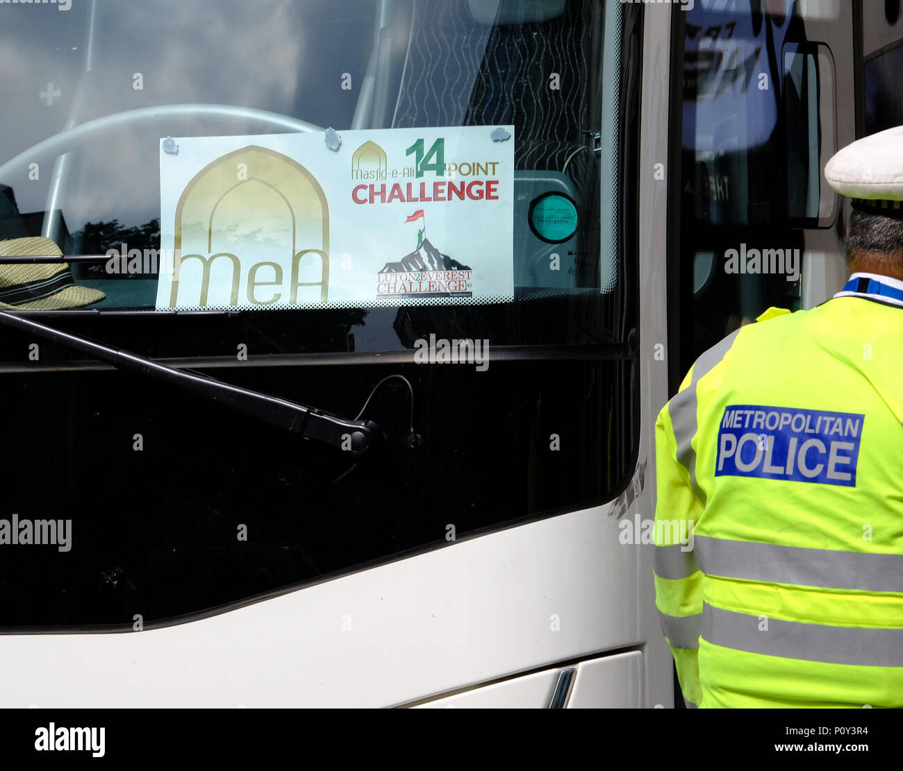 London, UK. 10th June 2018. Al Quds day protest organised by IHRC in London goes ahead despite demands that Hezbollah flags should not be flown. Counter protests from Israeli supporters and Free Tommy Robinson supporters led to a large police presence. Coaches brought Muslims from Luton for Al- quds Credit: Londonphotos/Alamy Live News - Stock Image