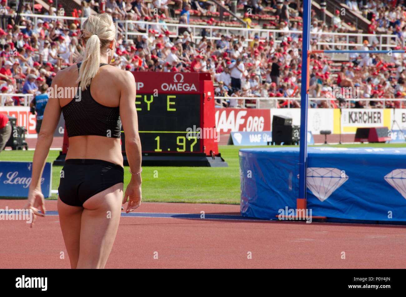 Stockholm, Sweden - 10 June 2018. High jump women on the Diamond league- competition at Stockholm Stadium. Erika Kinsey from Sweden preparing for her jump. Credit: Jari Juntunen/Alamy Live News - Stock Image