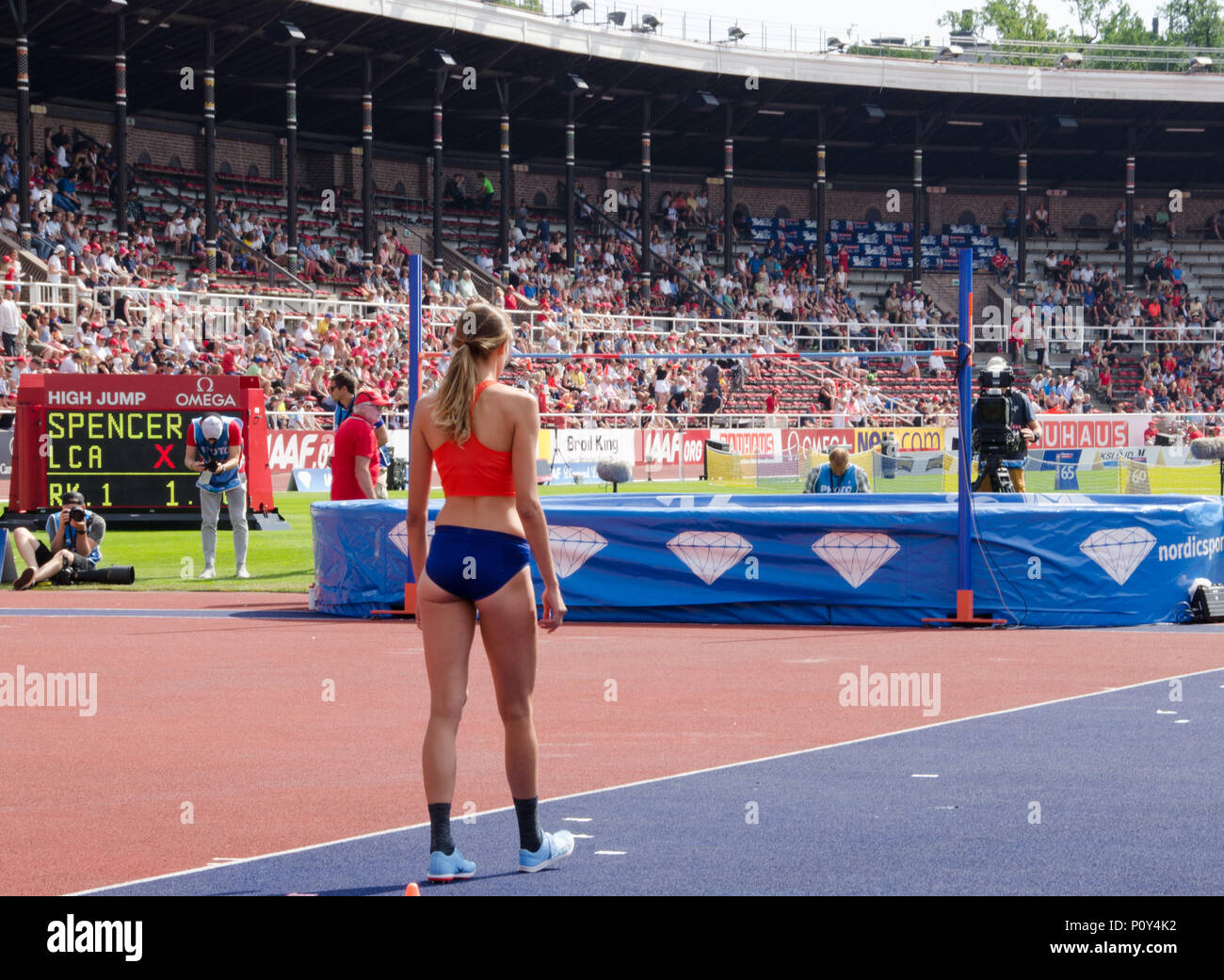 Stockholm, Sweden - 10 June 2018. High jump women on the Diamond league- competition at Stockholm Stadium. Alessia Trost from Italy preparing for her jump. Credit: Jari Juntunen/Alamy Live News - Stock Image