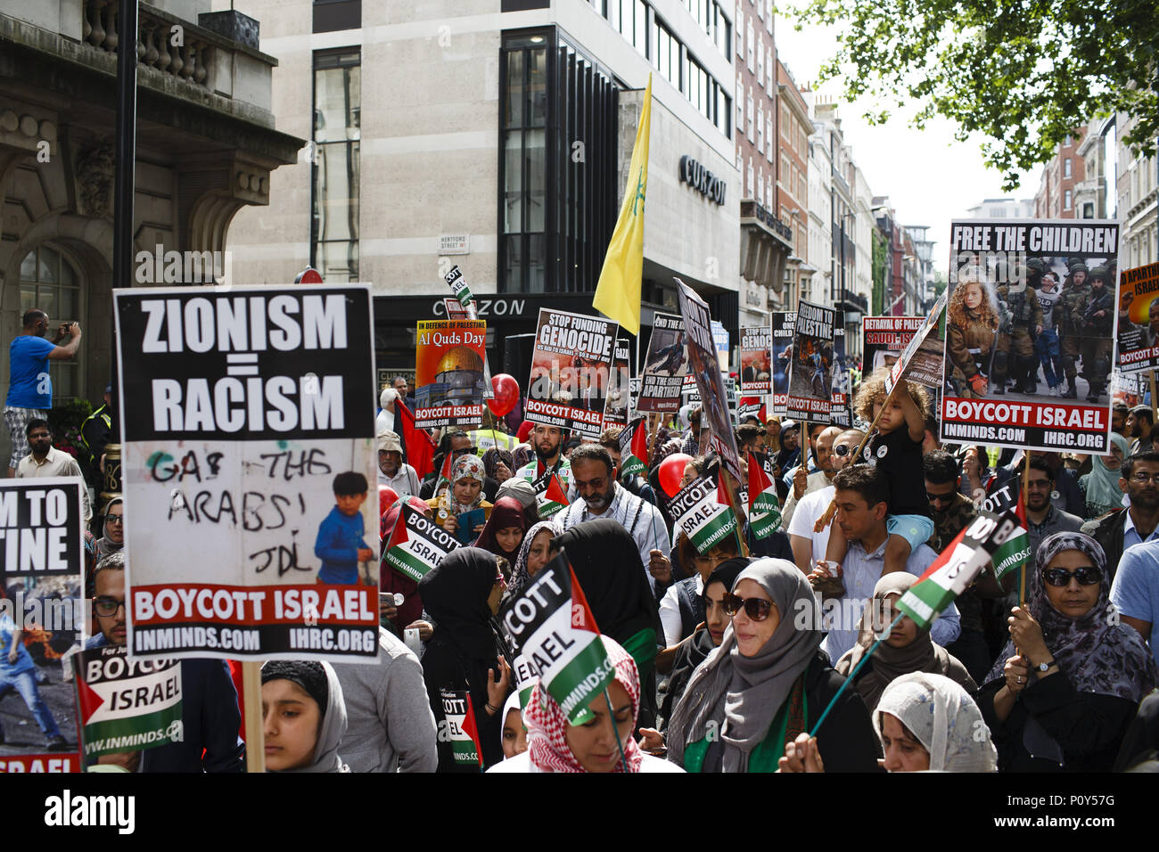 London, UK. 10th June, 2018. Demonstrators take part in the annual pro-Palestine/anti-Israel Al Quds Day demonstration in central London. The demonstration is notably controversial in the city for the flying of Hizbullah flags that typically takes place during the course of it. Credit: David Cliff/SOPA Images/ZUMA Wire/Alamy Live News - Stock Image