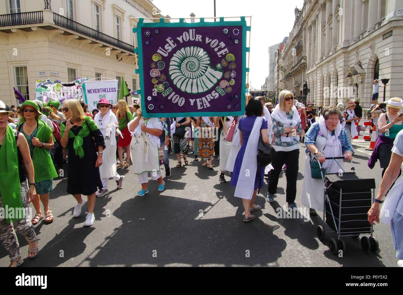 London, UK. 10th June 2018. Processions June 10 2018 a celebration of 100 years of Women getting the vote, march through London organised by the Artichoke Trust. Credit: Haydn Wheeler/Alamy Live NewsStock Photo