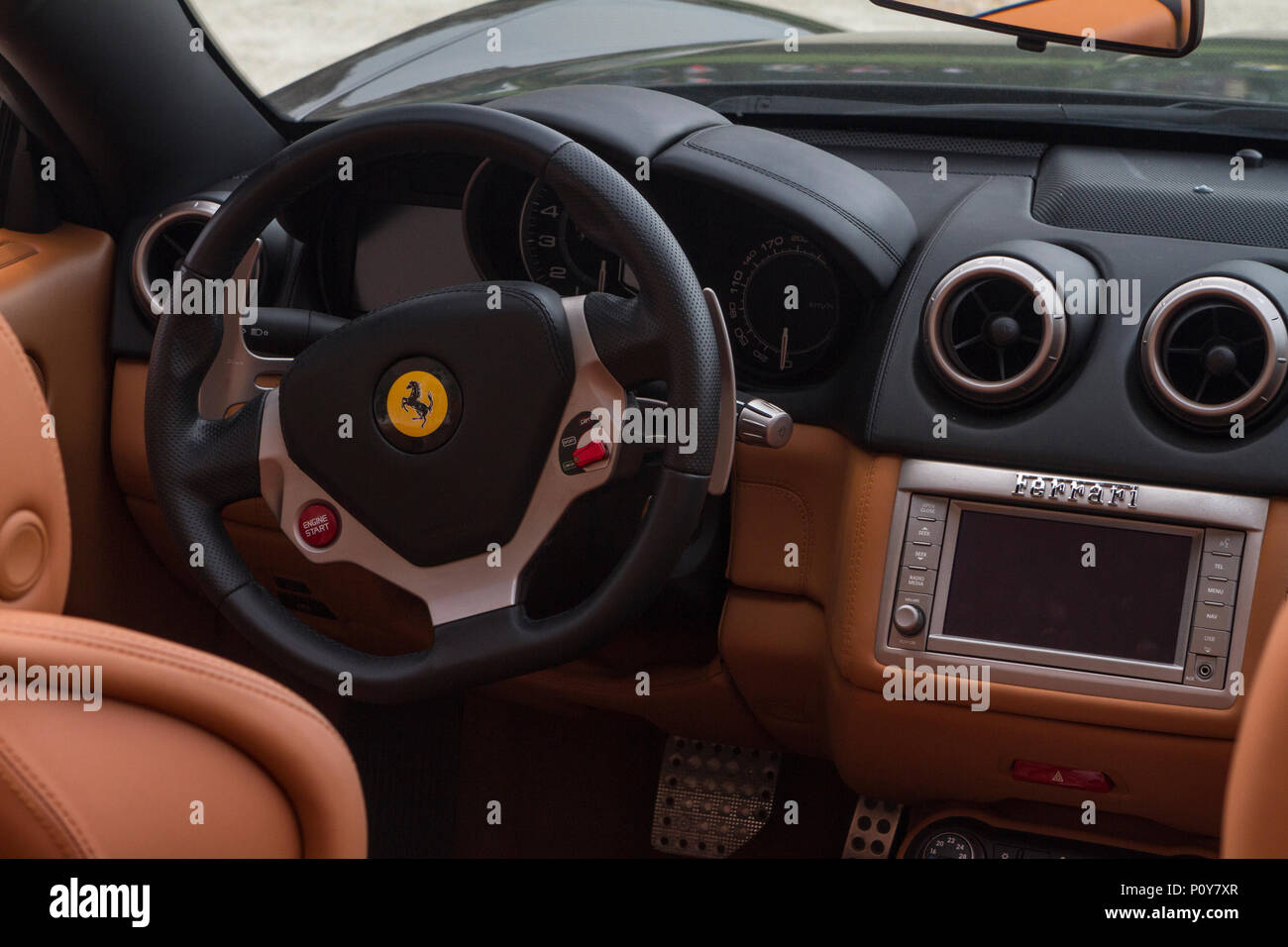 Torino Italy 10th June 2018 Detail Of Dashboard And Steering