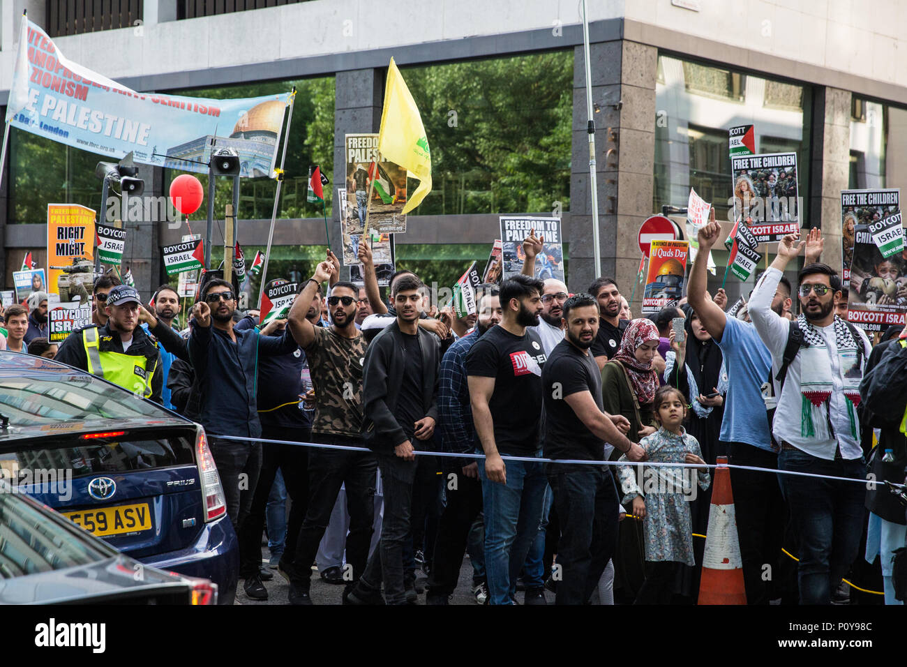 London, UK. 10th June, 2018. Hundreds of people take part in the pro-Palestinian Al Quds Day march through central London organised by the Islamic Human Rights Commission. An international event, it began in Iran in 1979. Quds is the Arabic name for Jerusalem. Credit: Mark Kerrison/Alamy Live News - Stock Image