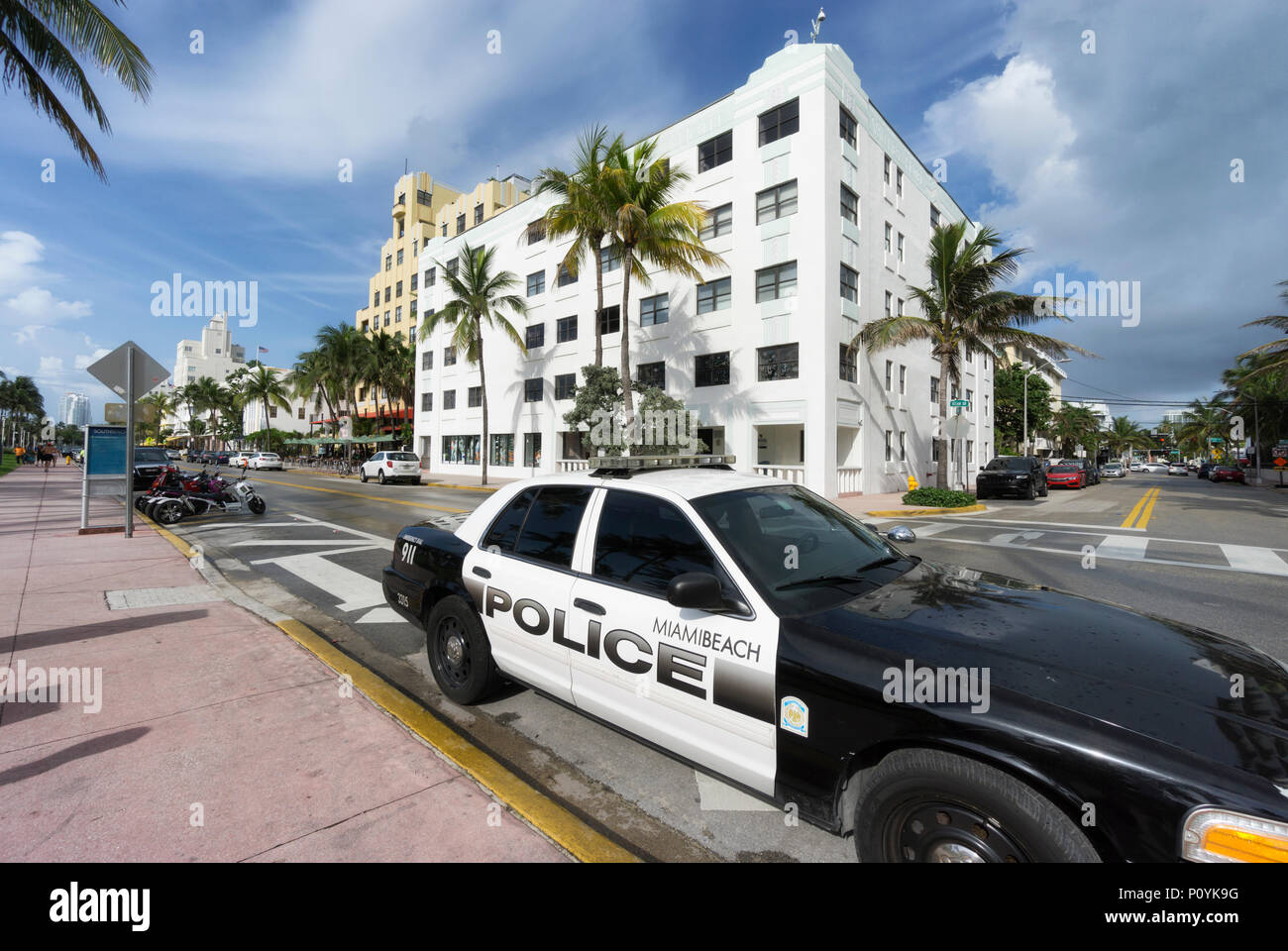 MIAMI BEACH, FLORIDA - JUNE 9, 2018: the famous art deco district of Ocean Drive in South Beach Miami, USA - Stock Image