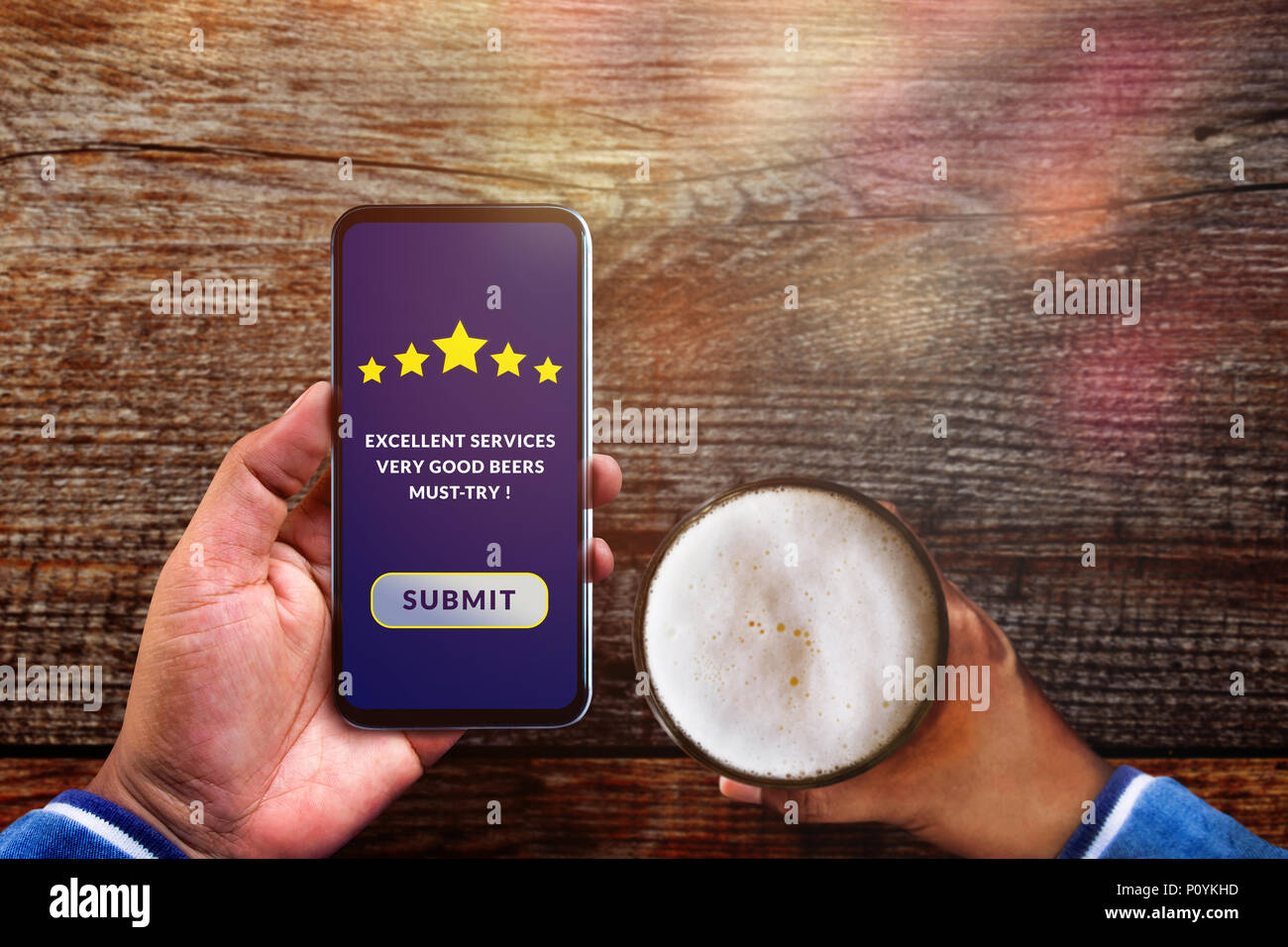 customer experience concept man using smartphone in cafe or