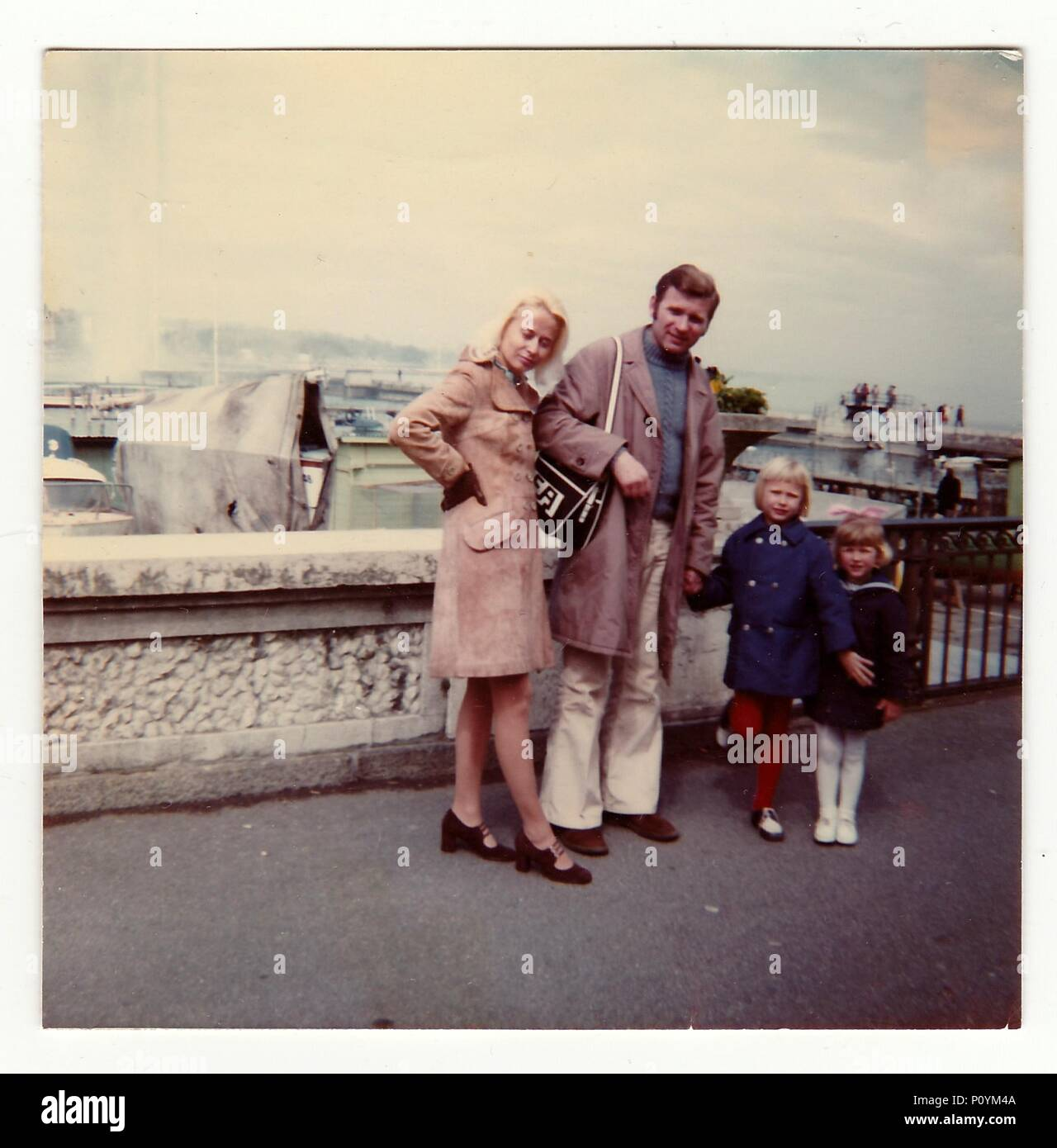 SWITZERLAND, CIRCA 1970s: Vintage photo shows family on vacation, circa 1970s. - Stock Image