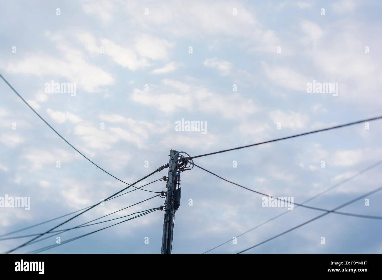 Overhead rural electricity distribution cables against
