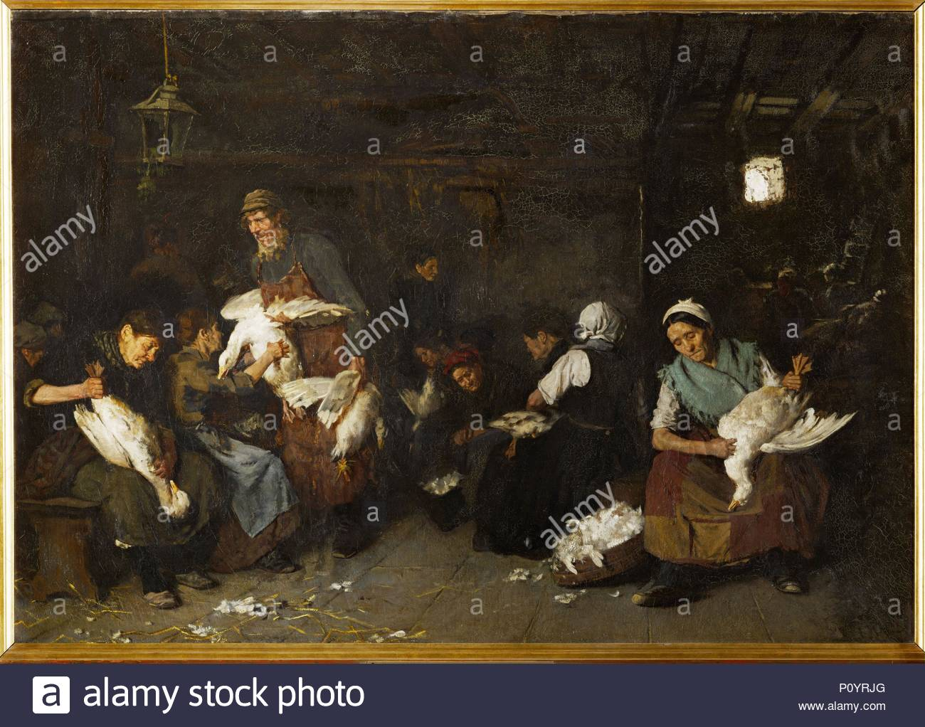 Women plucking geese. Author: Max Liebermann (1847-1935). Location: Staatl. Museen, Nationalgalerie, Berlin, Germany. - Stock Image