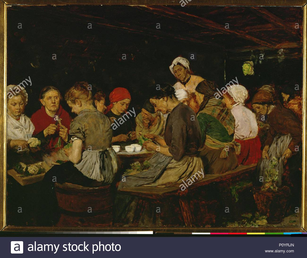Women in a canning factory Oil on mahogany wood (1879) 49 x 65.3 cm. Author: Max Liebermann (1847-1935). Location: Museum der Bildenden Kuenste, Leipzig, Germany. - Stock Image