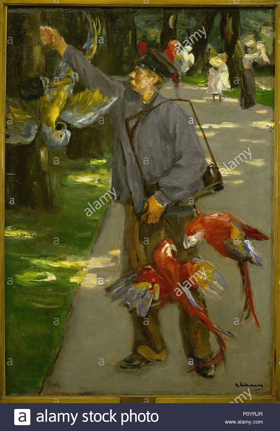 The parrot-man Oil on canvas (1902) 109.5 x 72 cm. Author: Max Liebermann (1847-1935). Location: Folkwang-Museum, Essen, Germany. - Stock Image