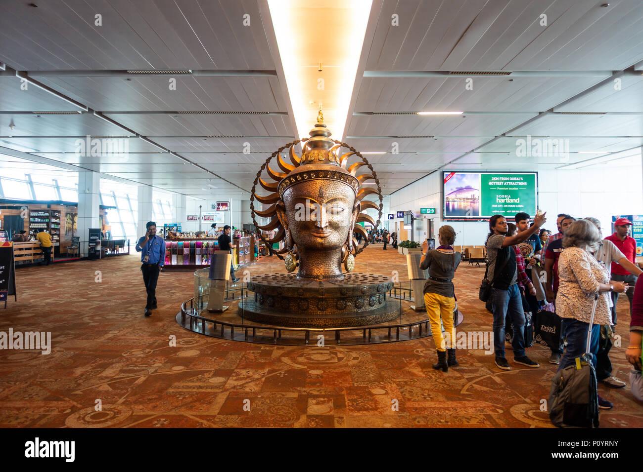 NEW DELHI, INDIA - CIRCA APRIL 2017: Surya bronze statue at Indira Gandhi International Airport, Terminal 3. Surya is the solar deity in Hinduism. - Stock Image