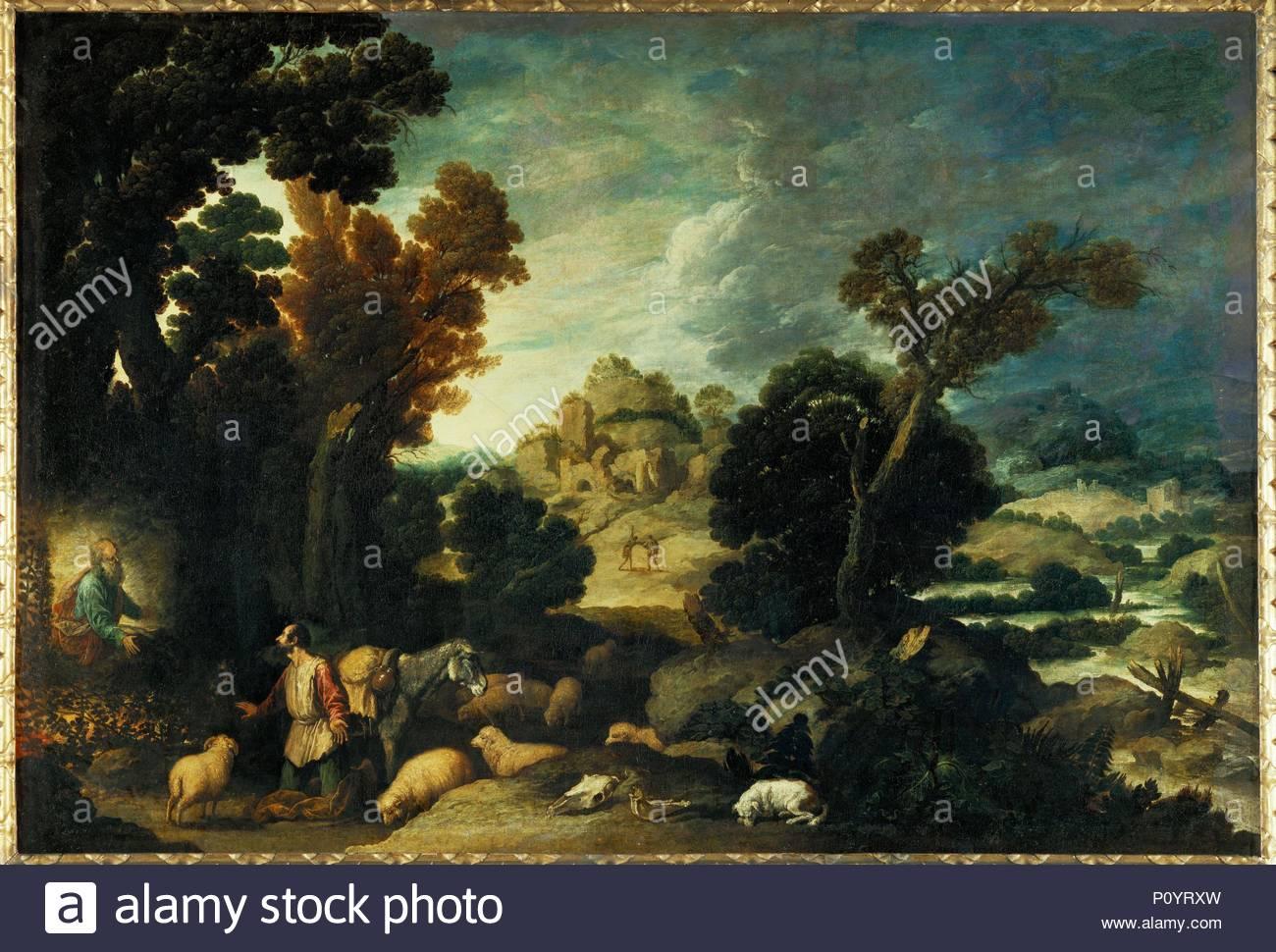 Le buisson ardent-Moses and the Burning Bush. Canvas, 116 x 163 cm INV.924. Author: Francisco Collantes (1599-1656). Location: Louvre, Dpt. des Peintures, Paris, France. - Stock Image