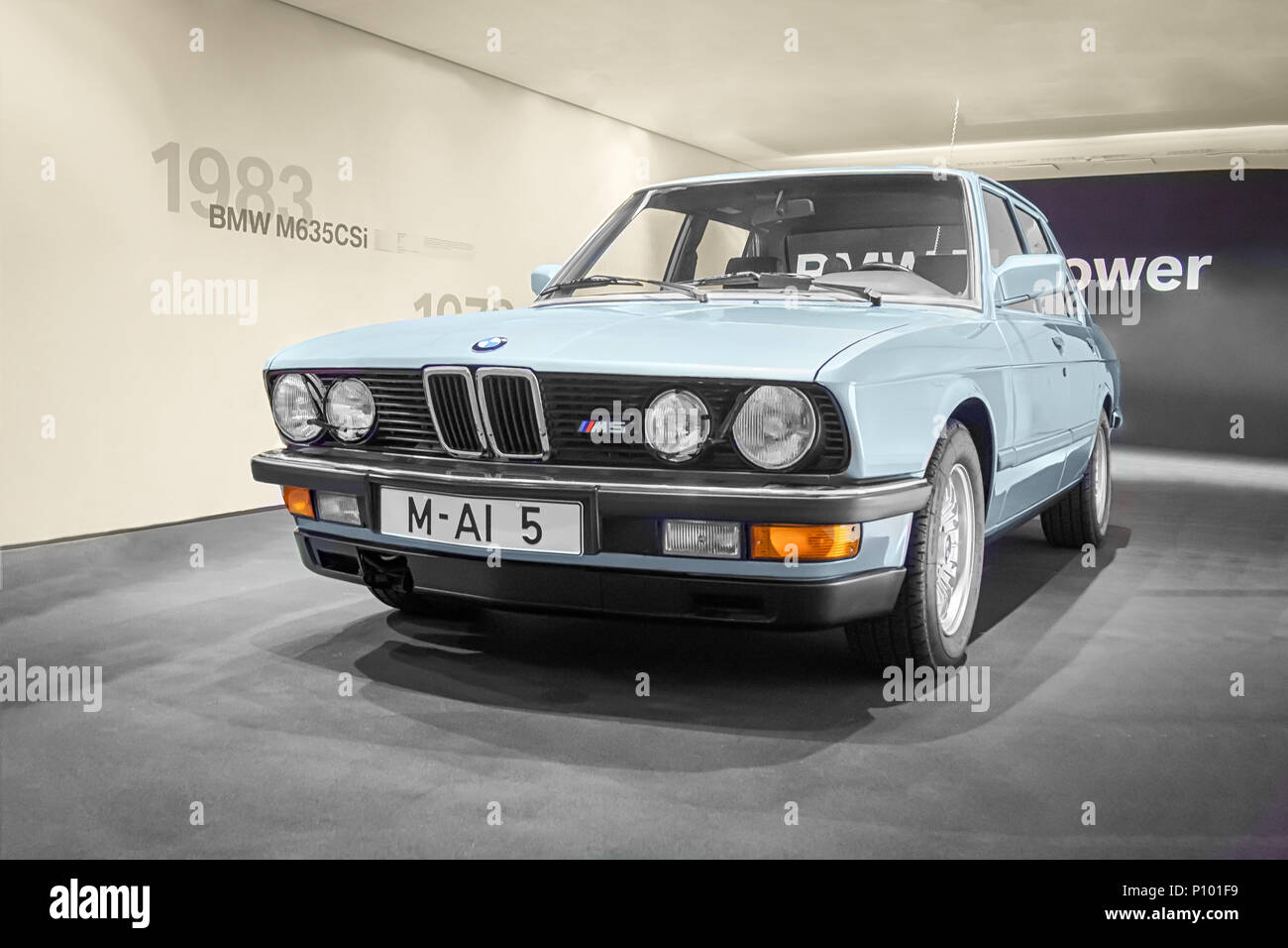 MUNICH, GERMANY-APRIL 8, 2017: 1984 BMW M5 in the BMW Museum Stock ...