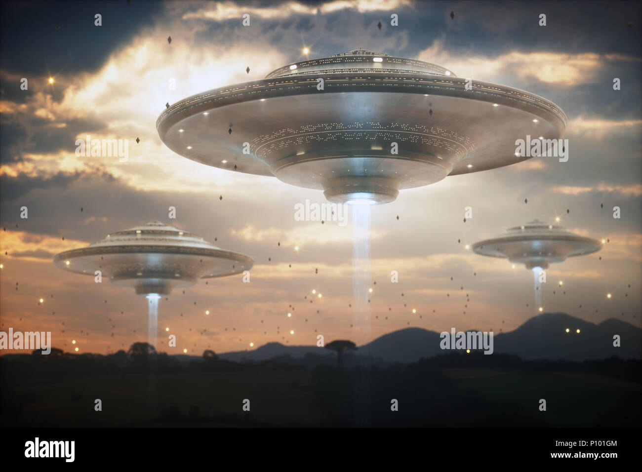 3d illustration invasion of alien spaceships sky filled with