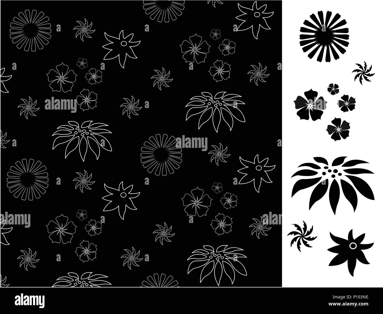 Seamless With Black Flowers Pattern Wallpaper Stock Vector