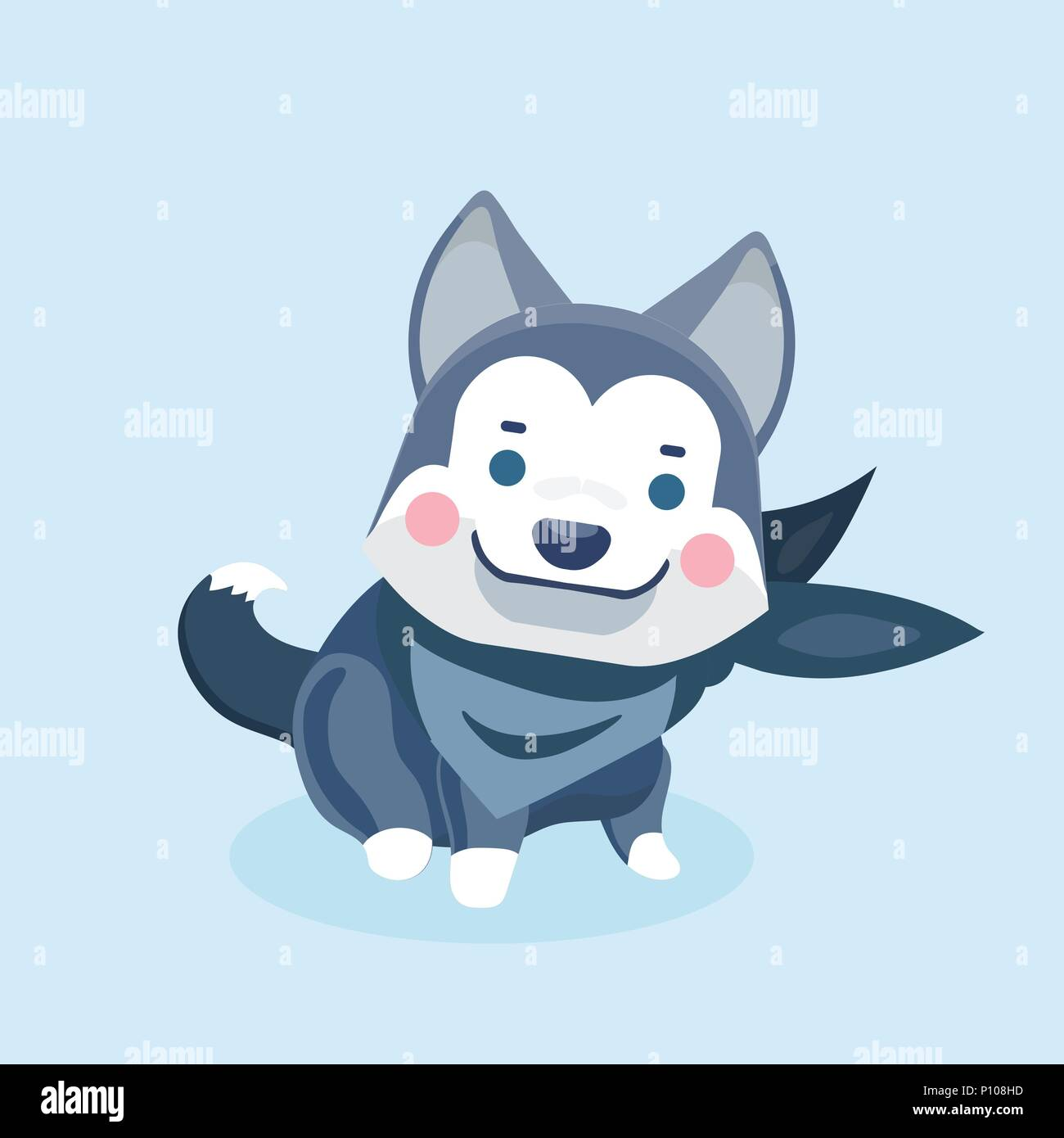 Cute cartoon siberian husky puppy on pastel background. - Stock Vector