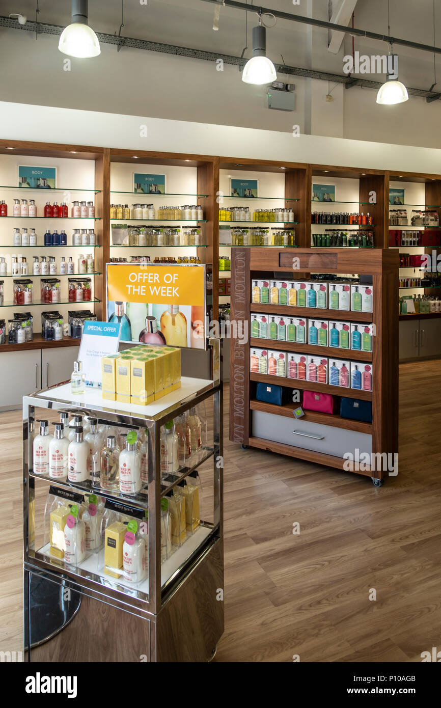 Cosmetics and body care products display in the Molton Brown Outlet Shop at the Gretna Gateway Outlet Village, a 'strip mall' in the very south of Sco - Stock Image