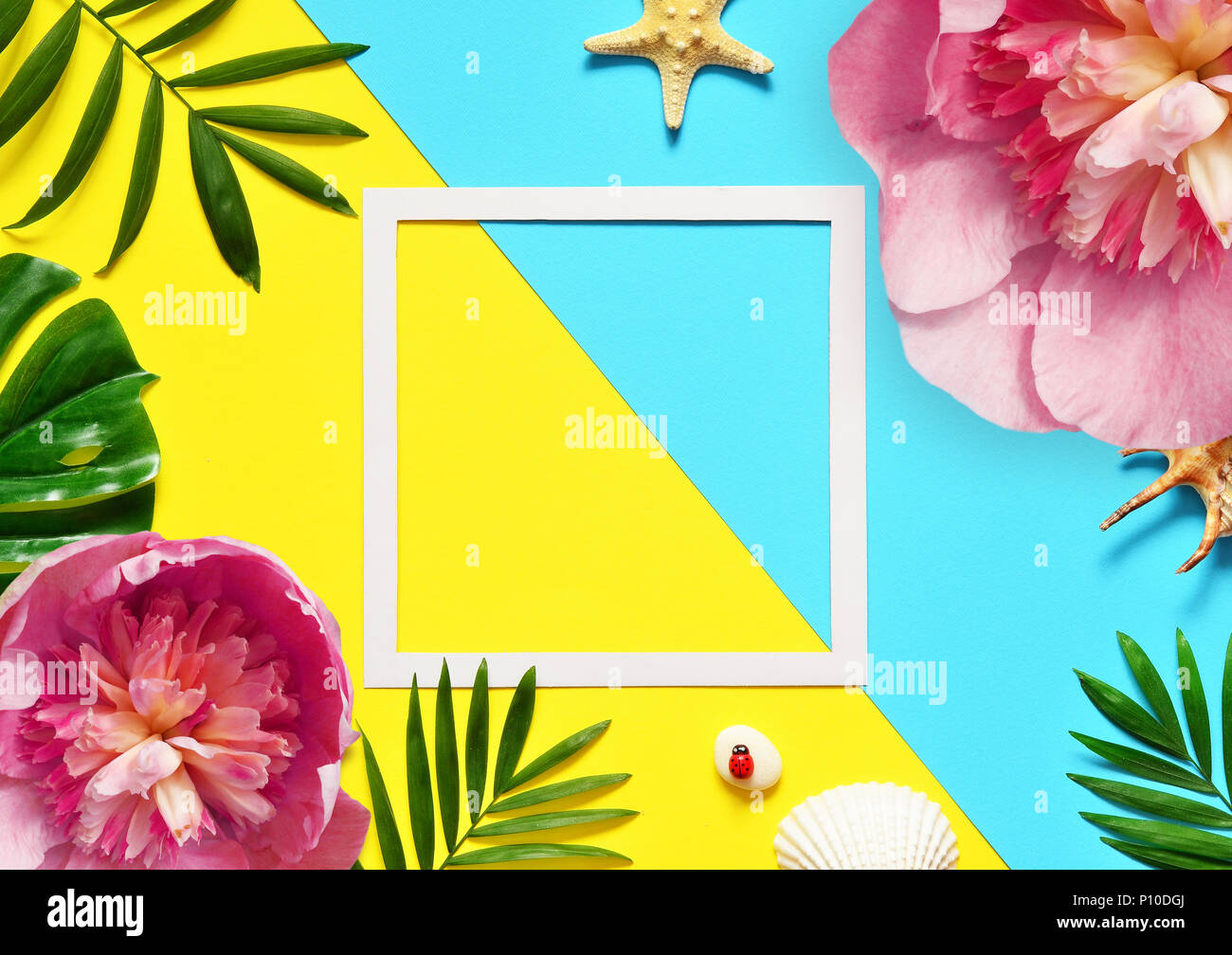 Tropical Background Palm Trees Branches And Flower With Starfish