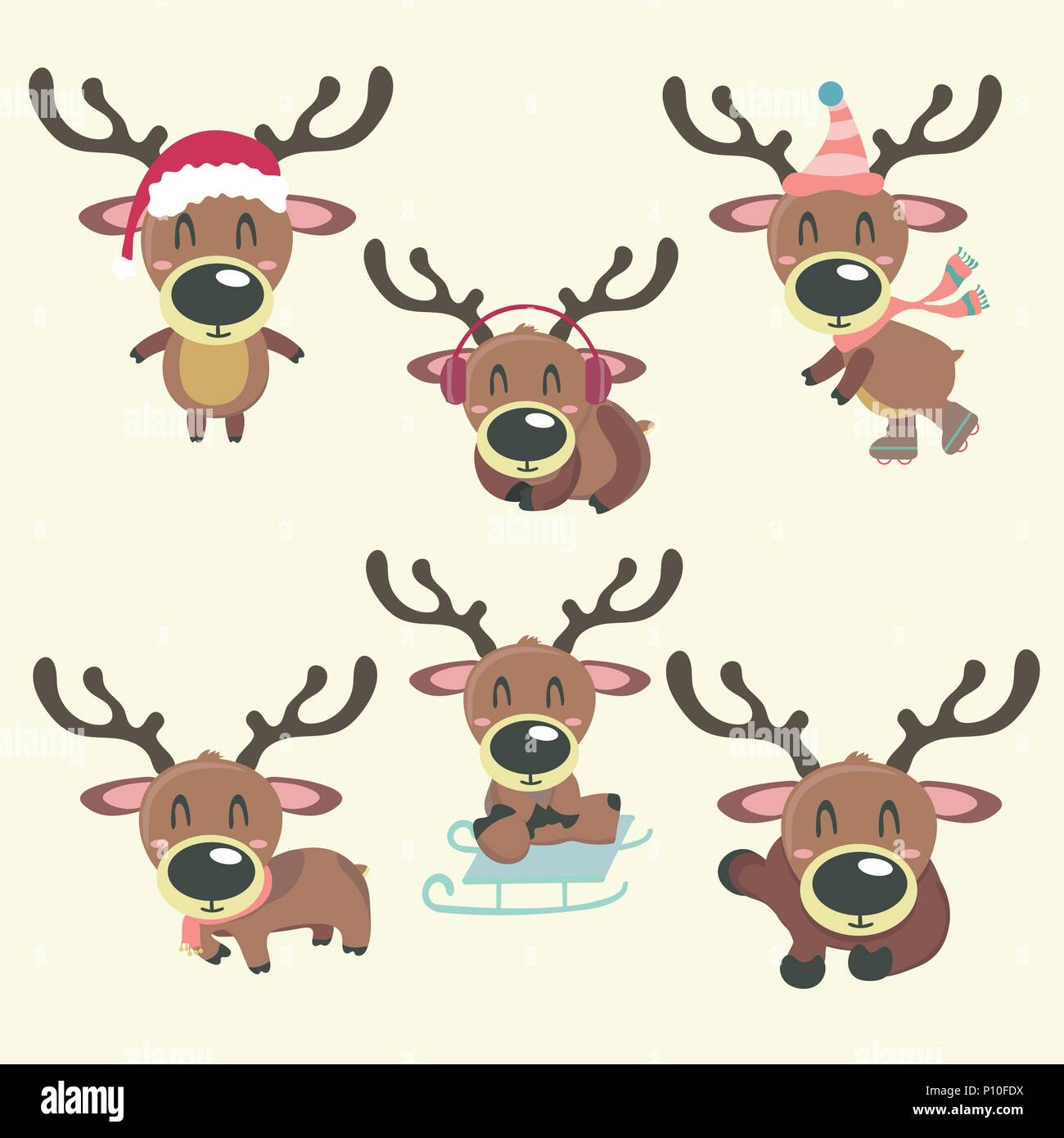 A set of vector colorful christmas rain deer illustrations. Cartoony pictures. - Stock Image