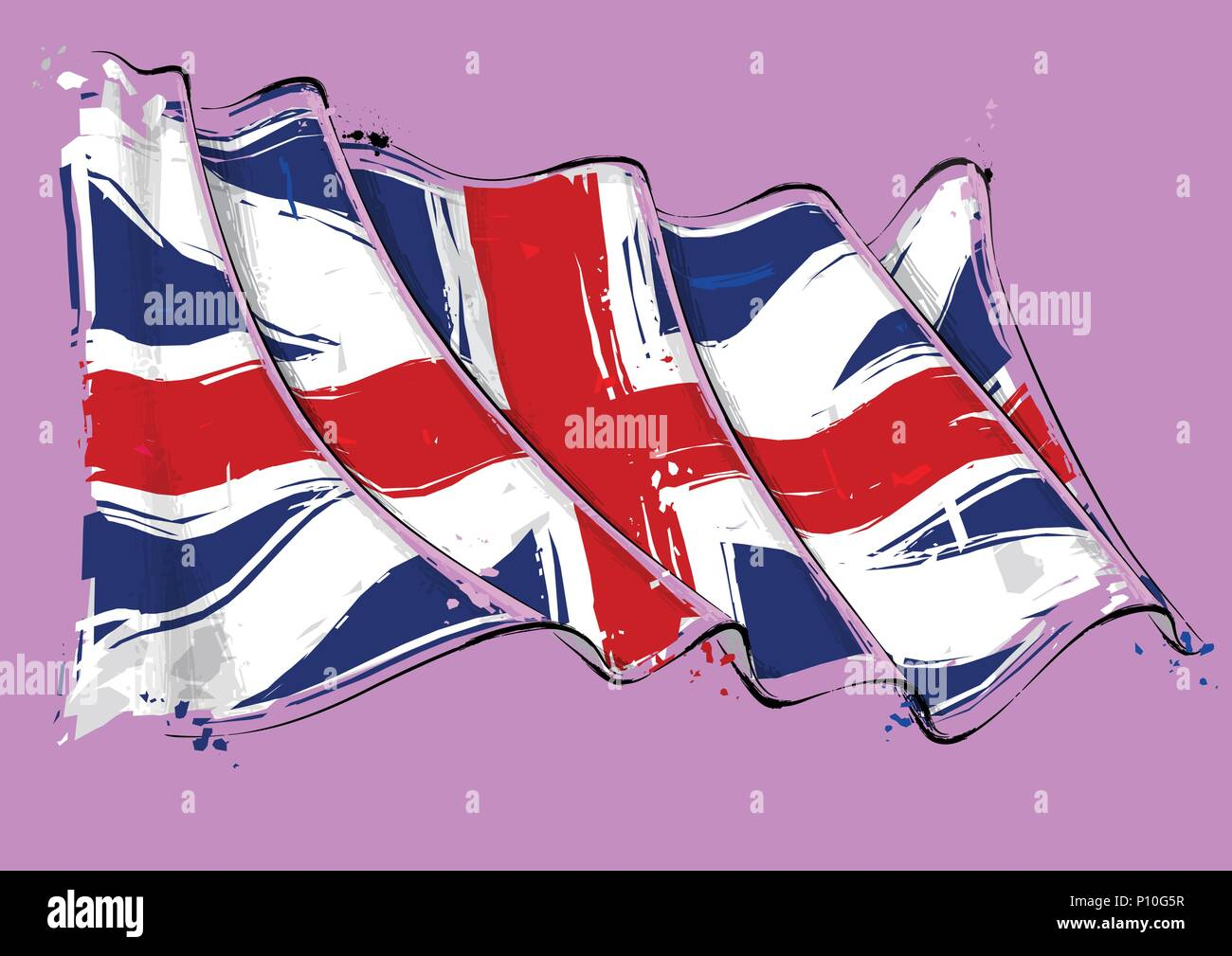 Vector grange Illustration of a waving Union Jack of the period 1606-1801 also named and The Kings Colors. This was the British flag design during the - Stock Vector