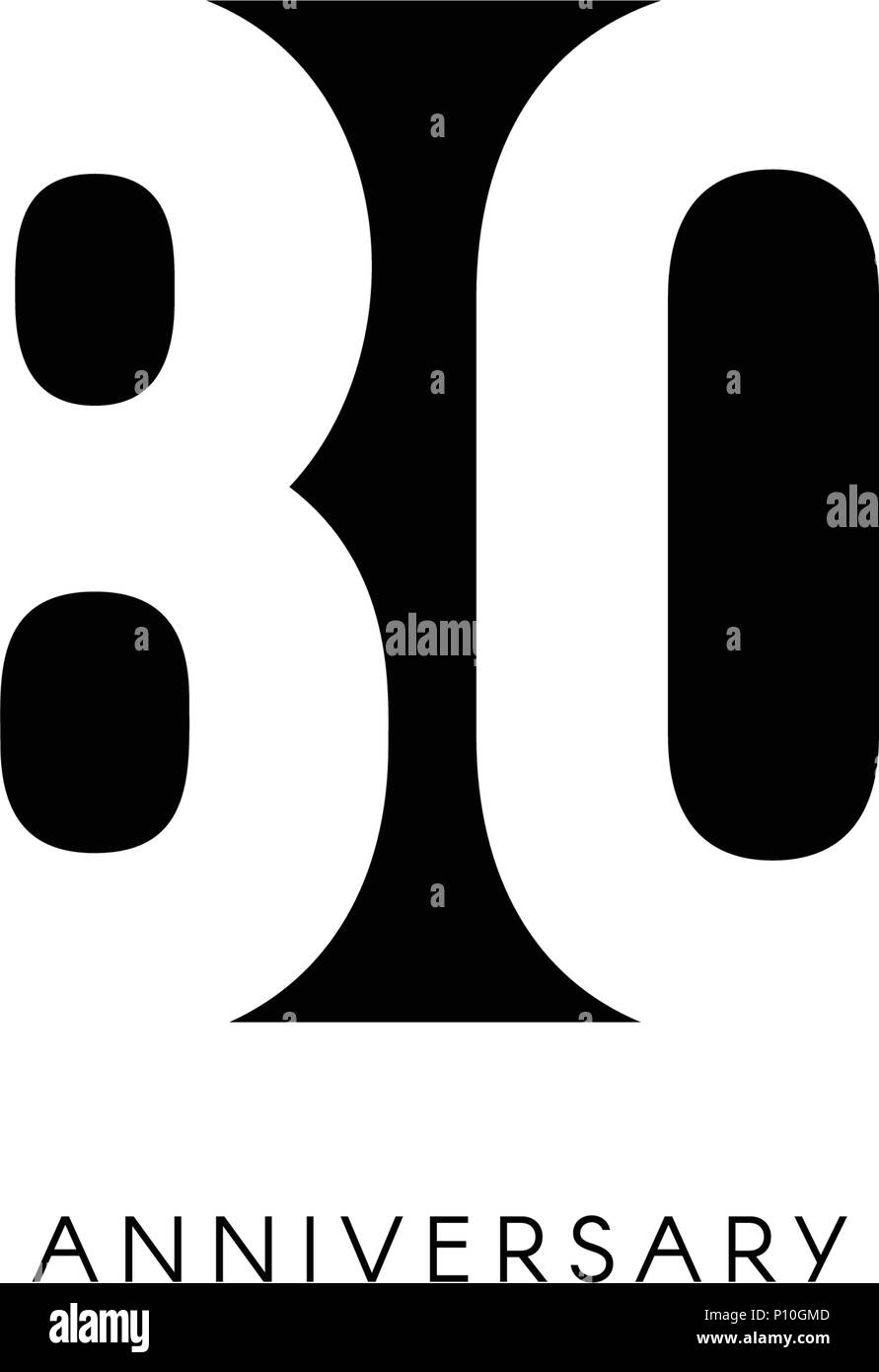 Eightieth Years 80th Jubilee Greeting Card Birthday Invitation 80 Year Sign Black Negative Space Vector Illustration On White Background