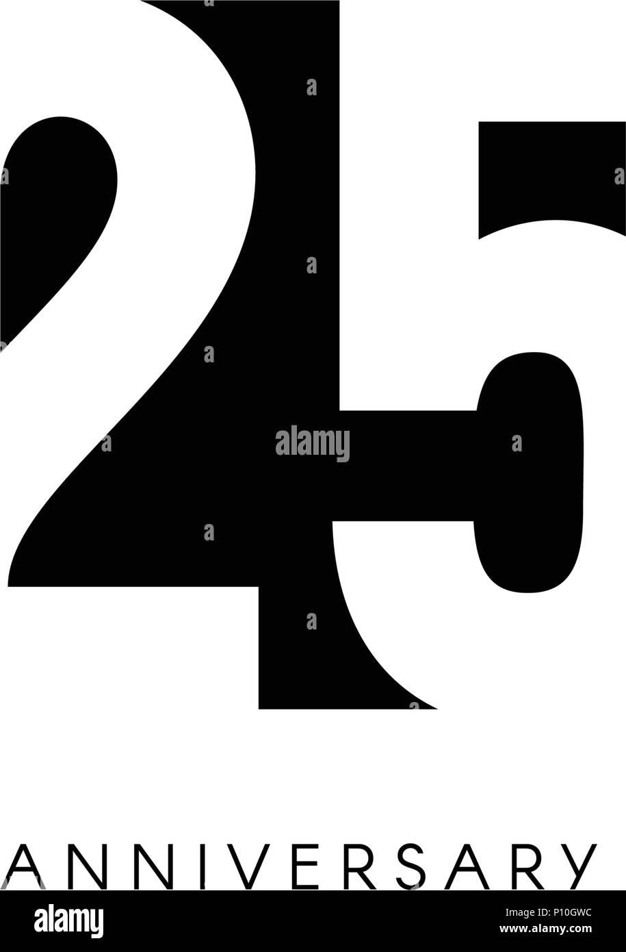 Twenty Five Anniversary Minimalistic Logo Twenty Fifth Years 25th