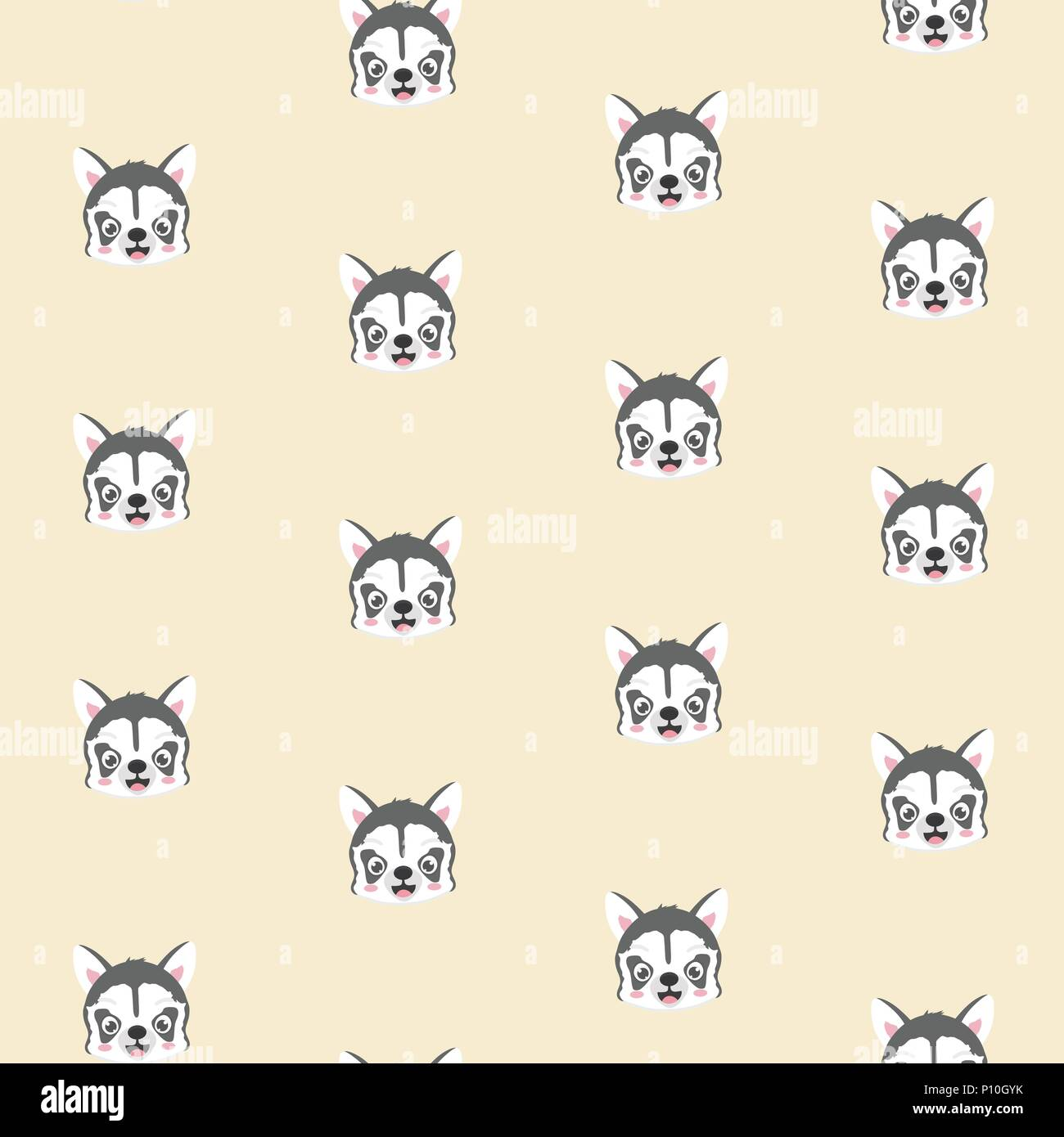 Seamless pattern with siberian husky puppies. - Stock Vector