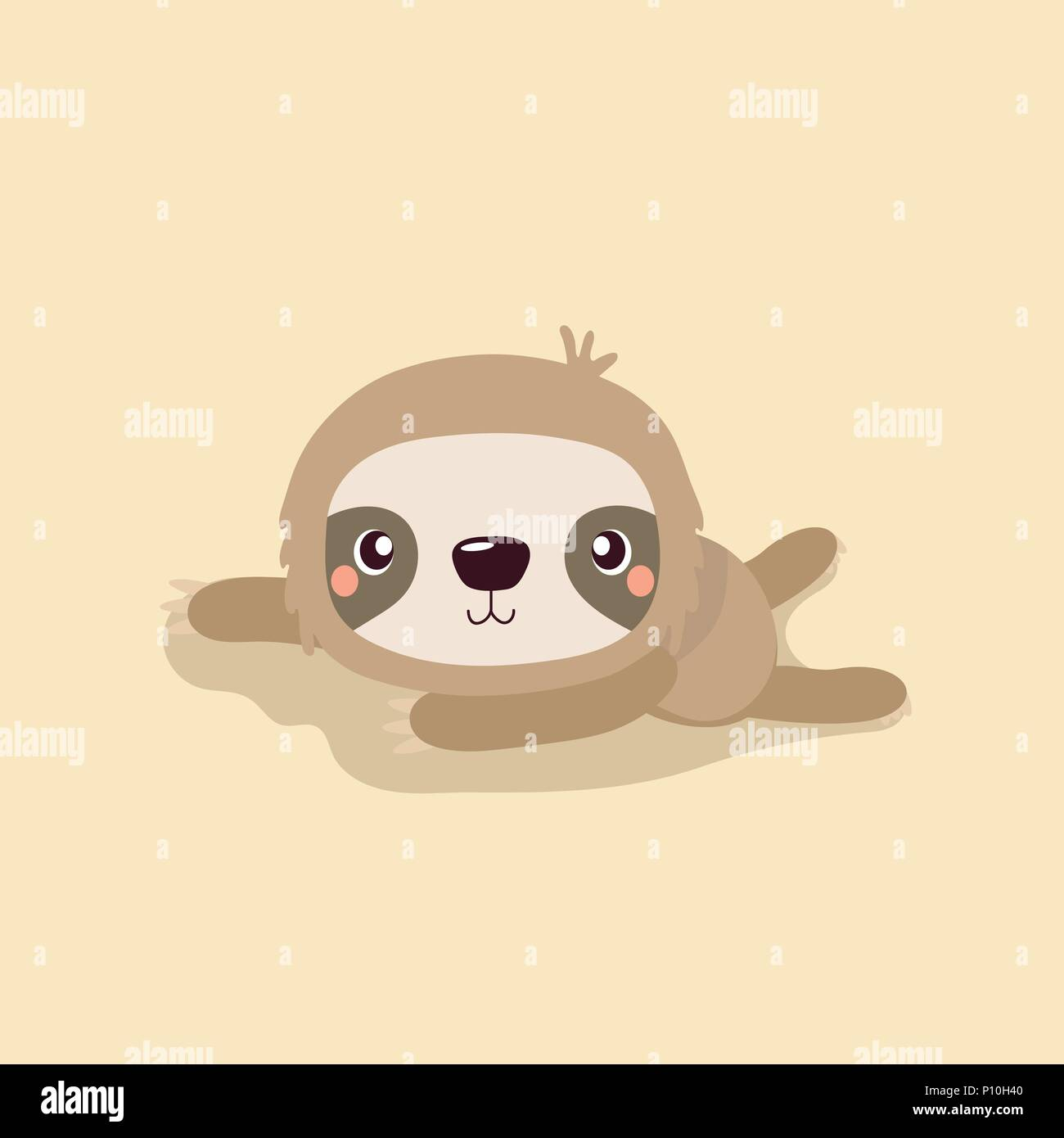 Cartoon Illustration Funny And Cute Sloth On Pastel Background Stock Vector Image Art Alamy