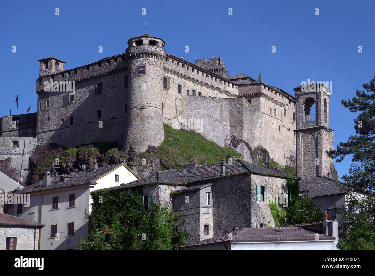Aerial view of Bardi castle, Parma, Italy Stock Photo