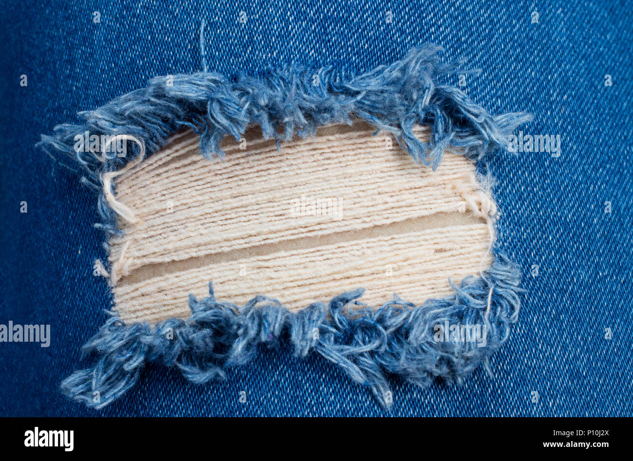 Perspective and closeup view to abstract space of empty blue denim, jeans texture background. Stock Photo